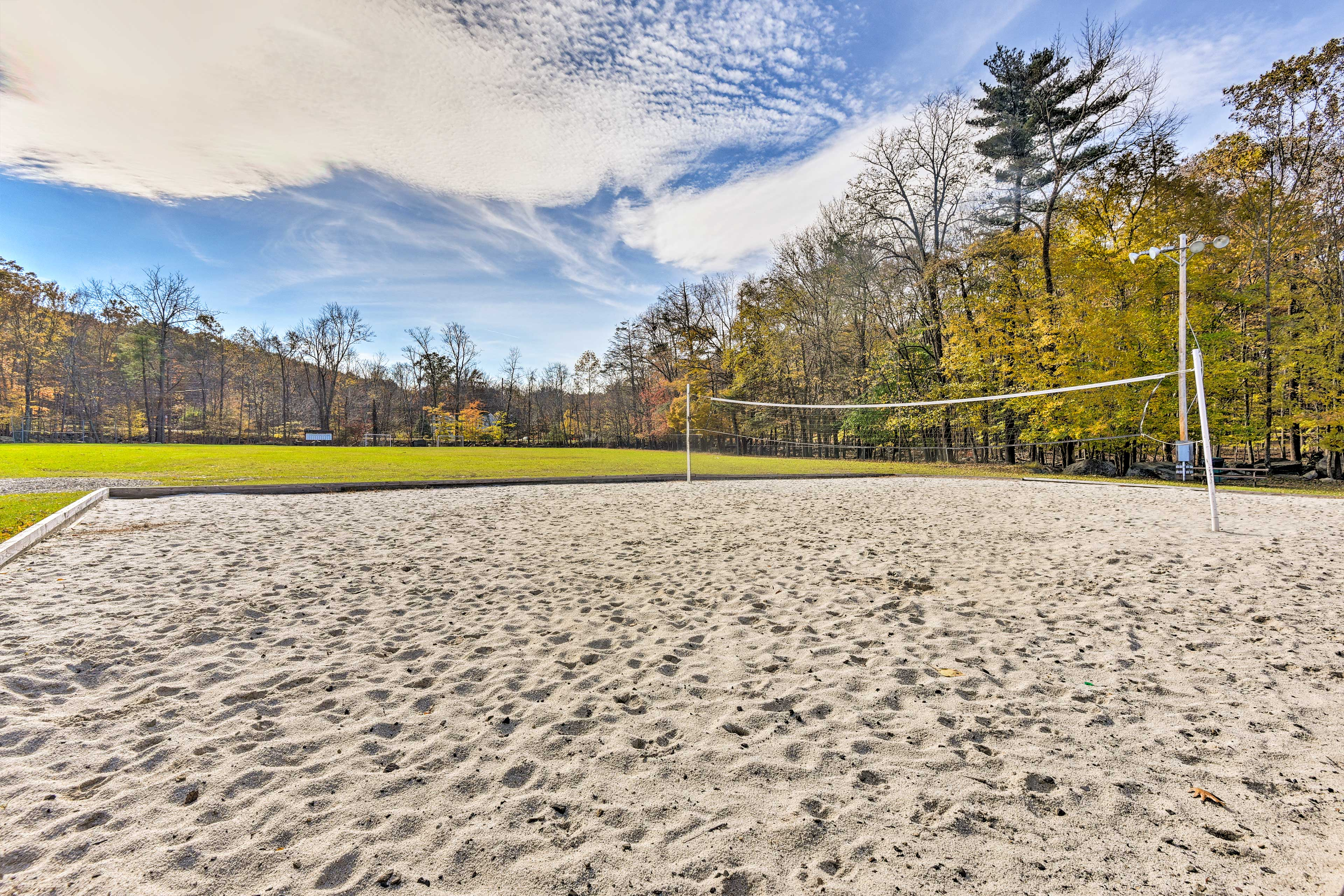 Get down in the sand at the volleyball courts.