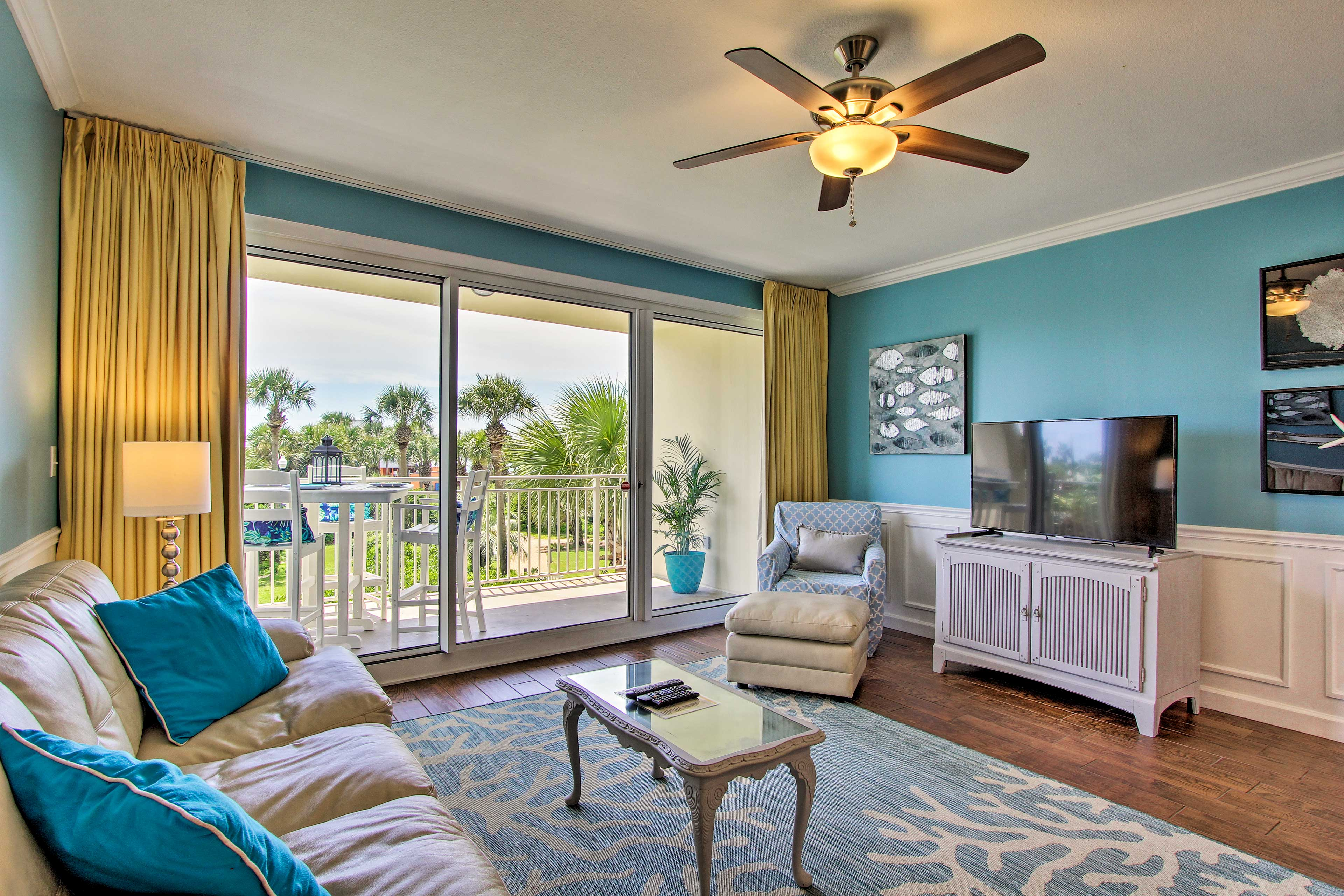 Map out your Destin getaway to this vibrant beach-themed resort condo!
