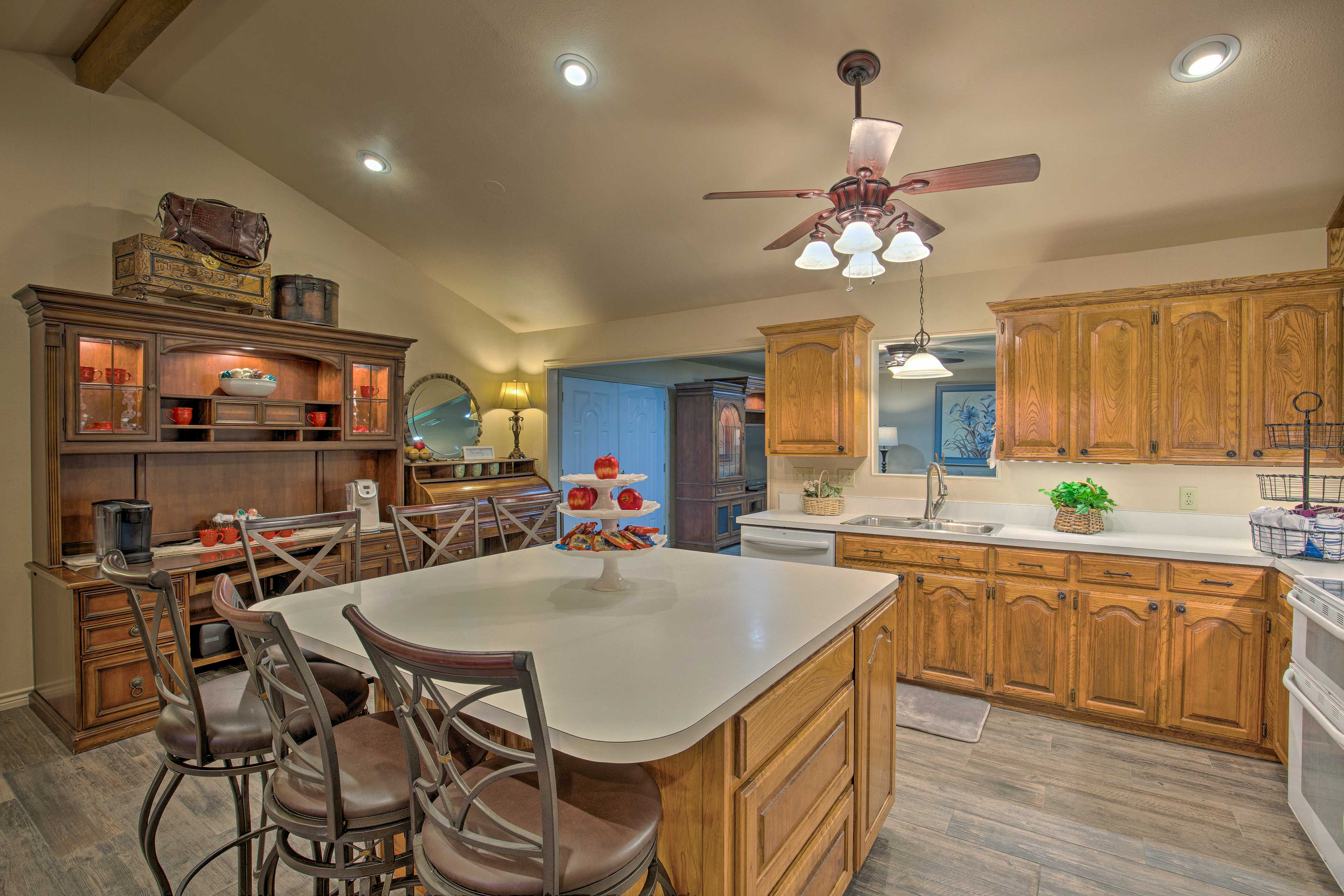 The kitchen is fully equipped with your basic cooking needs.