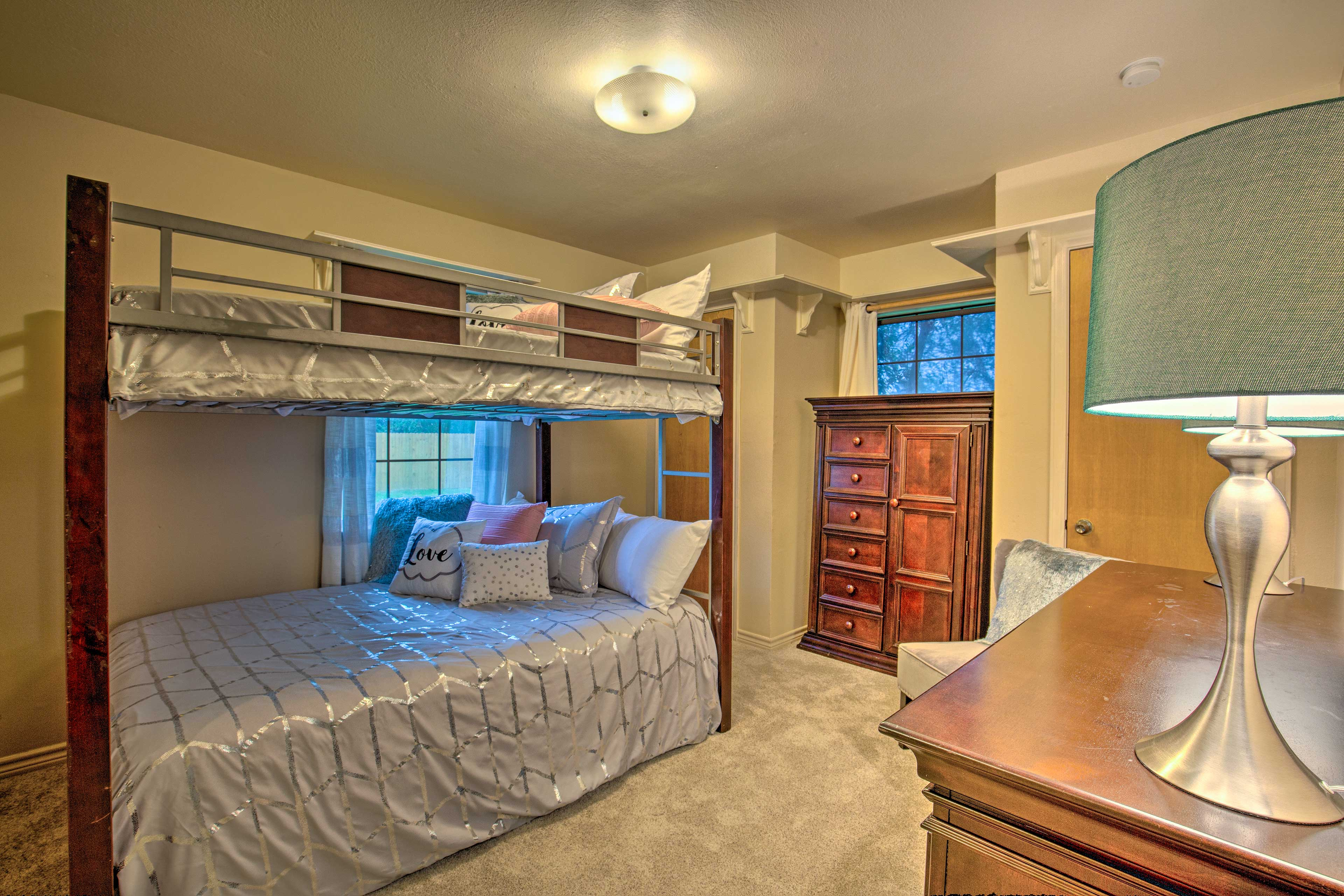 The kids can share the full bunk bed.