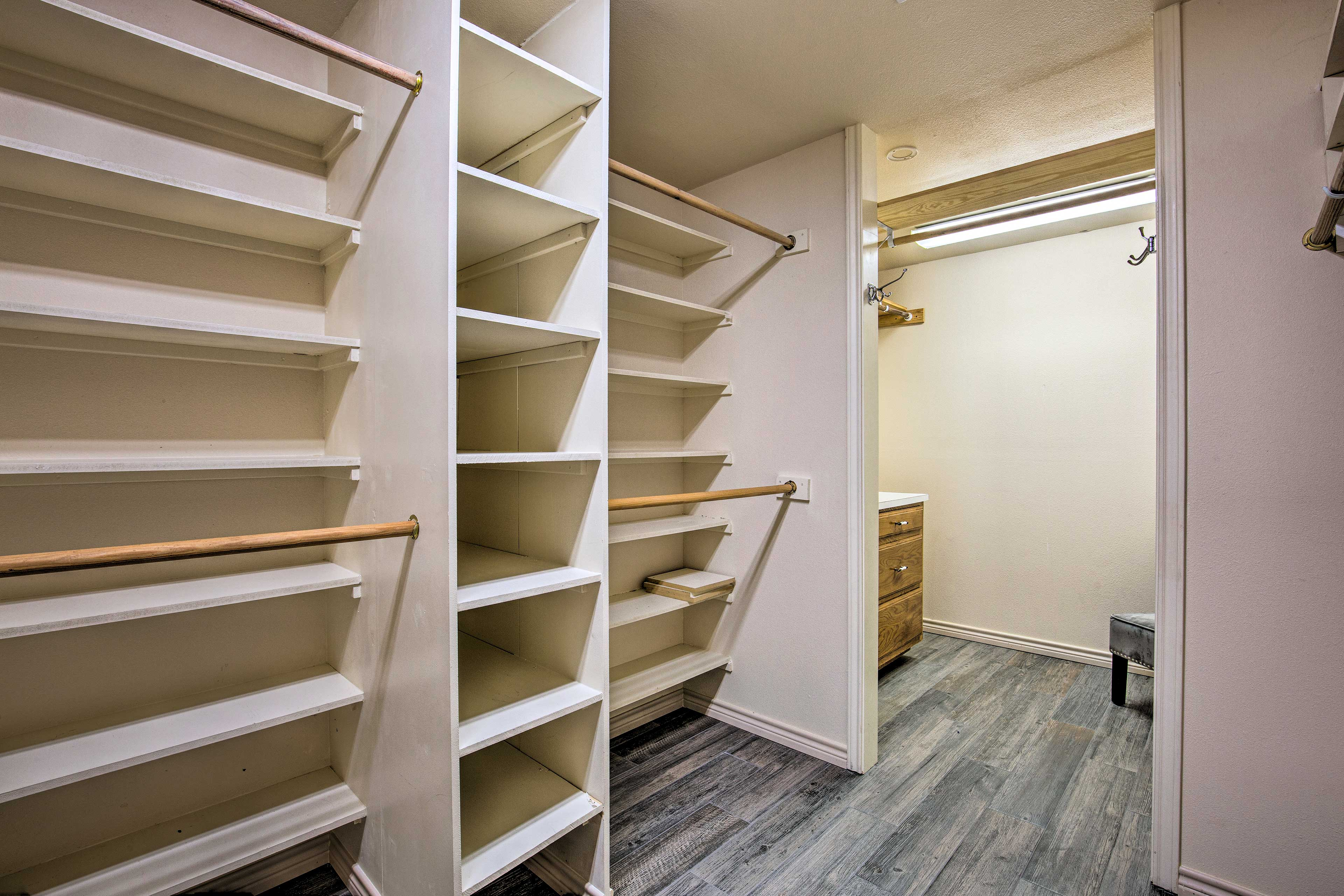 There is ample closet space to store your suitcases.
