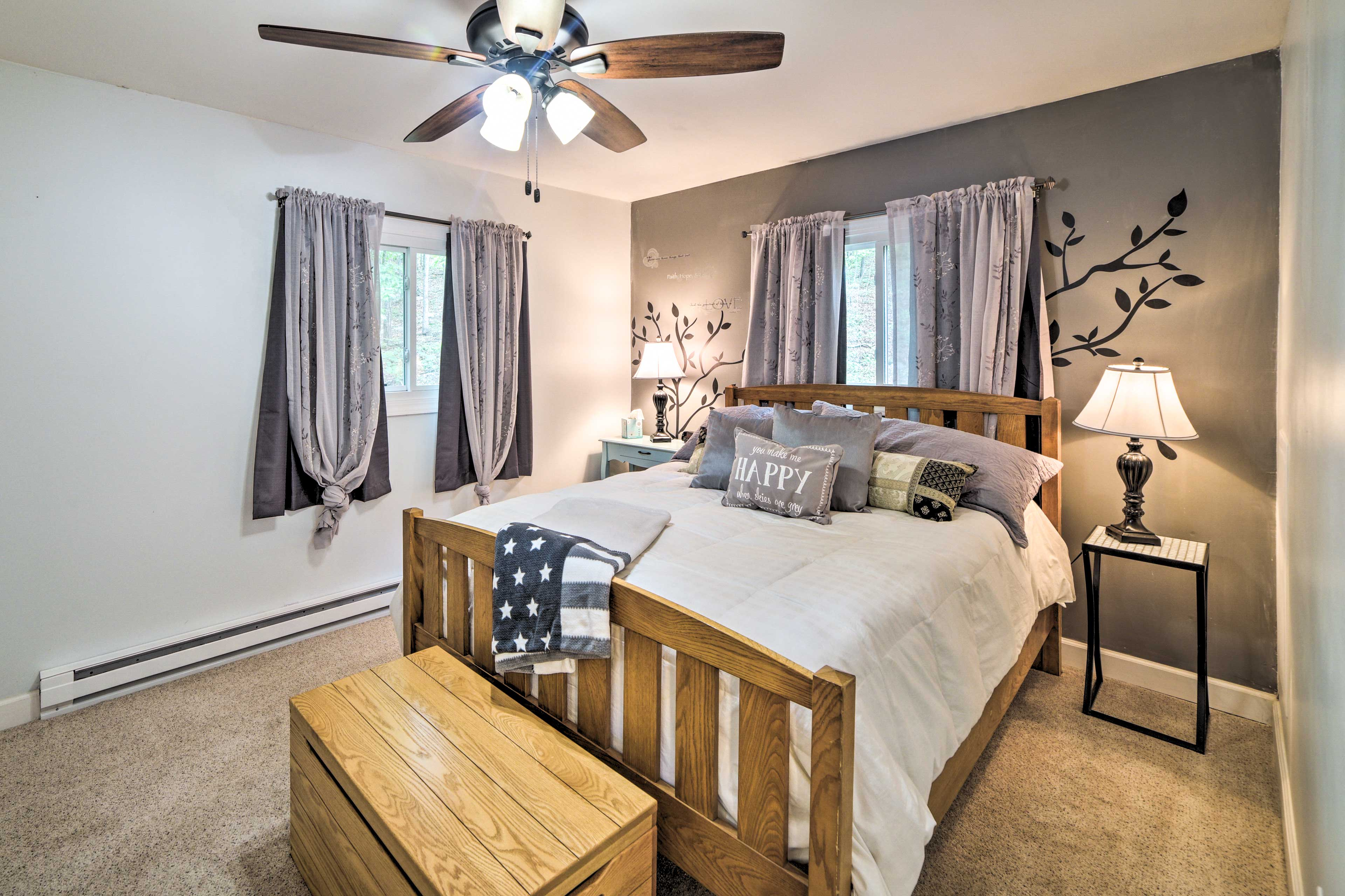 The master bedroom features a comfortable queen bed!