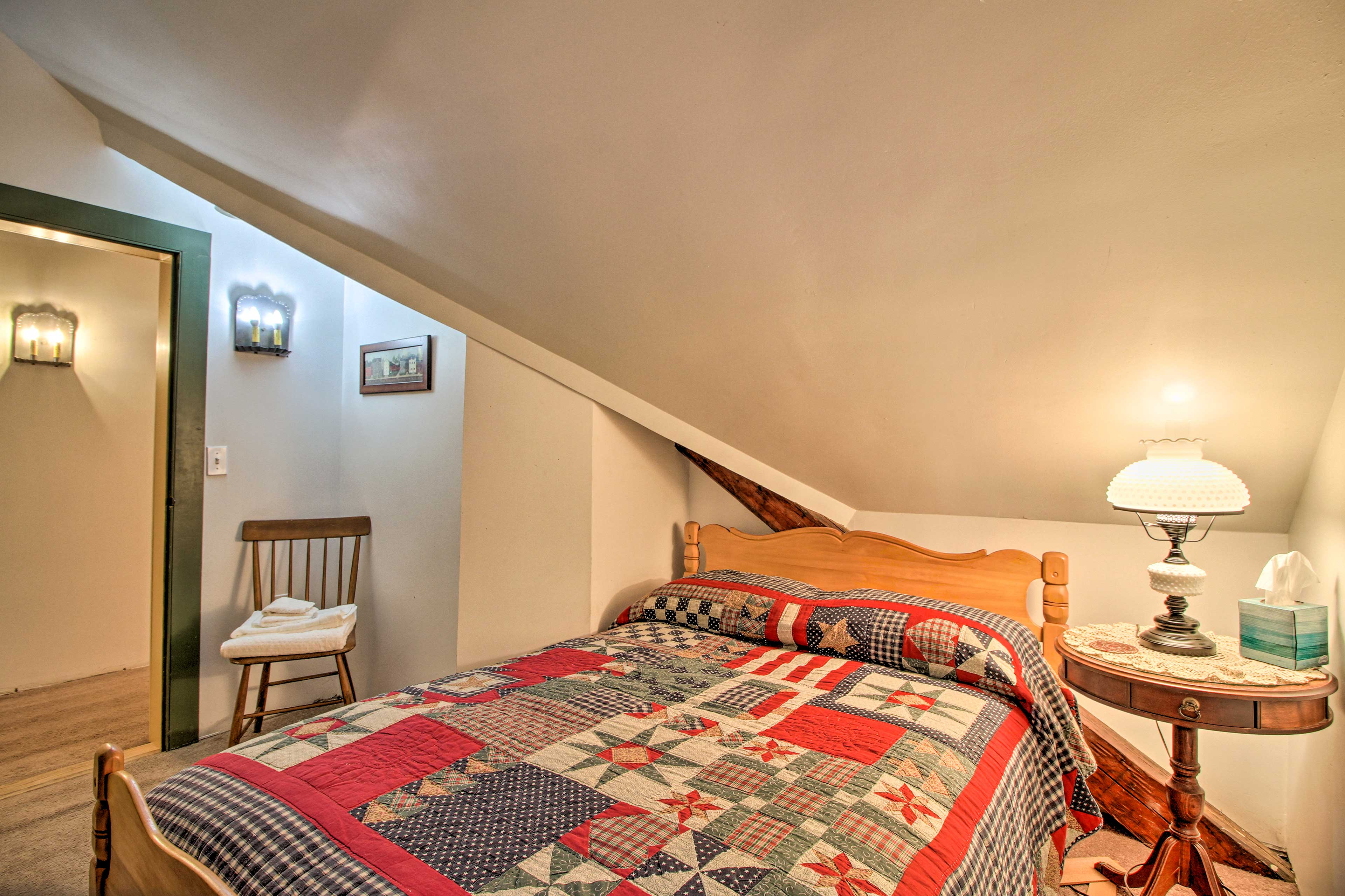 Cozy up in this full bed for a good night's rest.