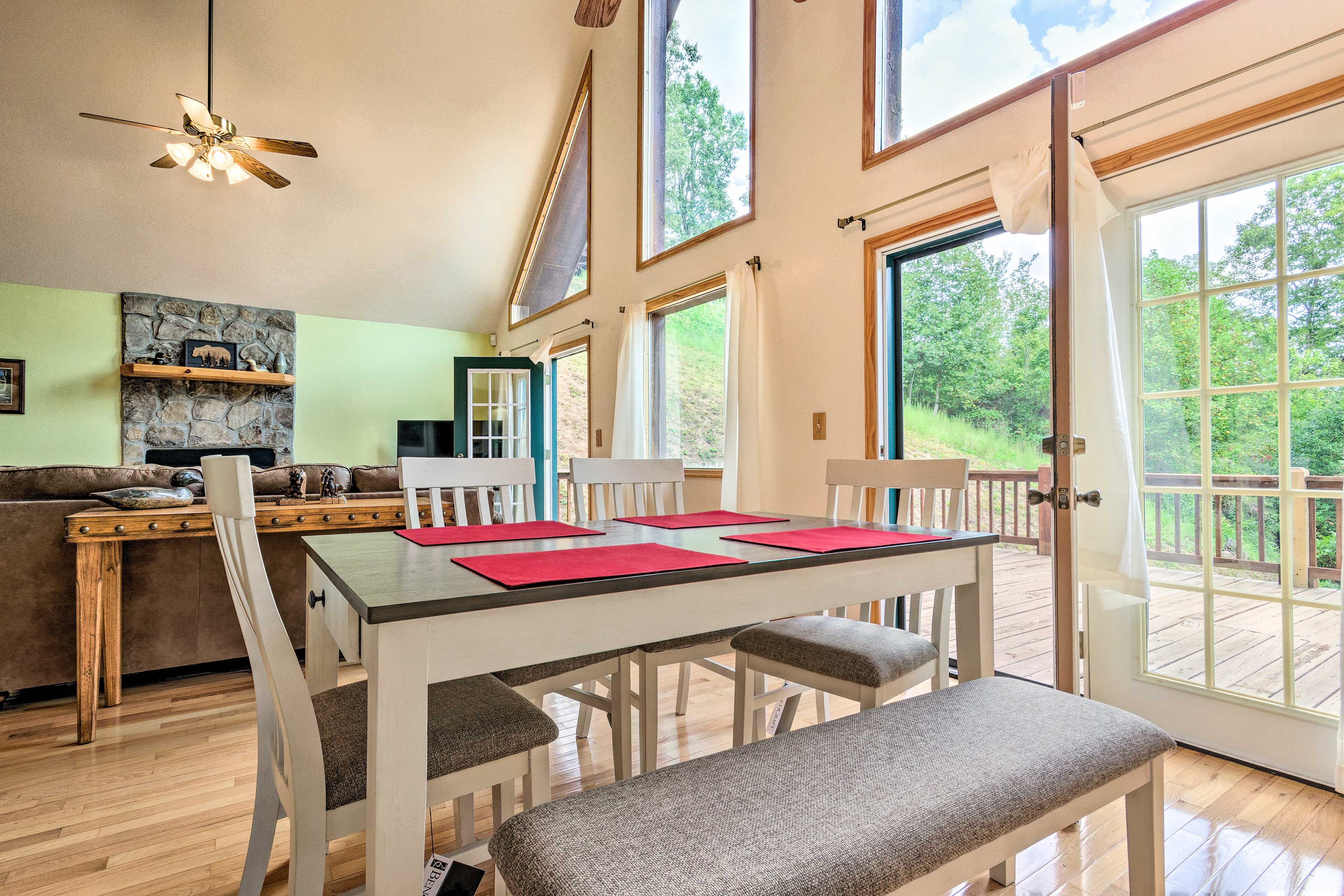 Gather around the 6-person dining table for a delicious home-cooked meal.