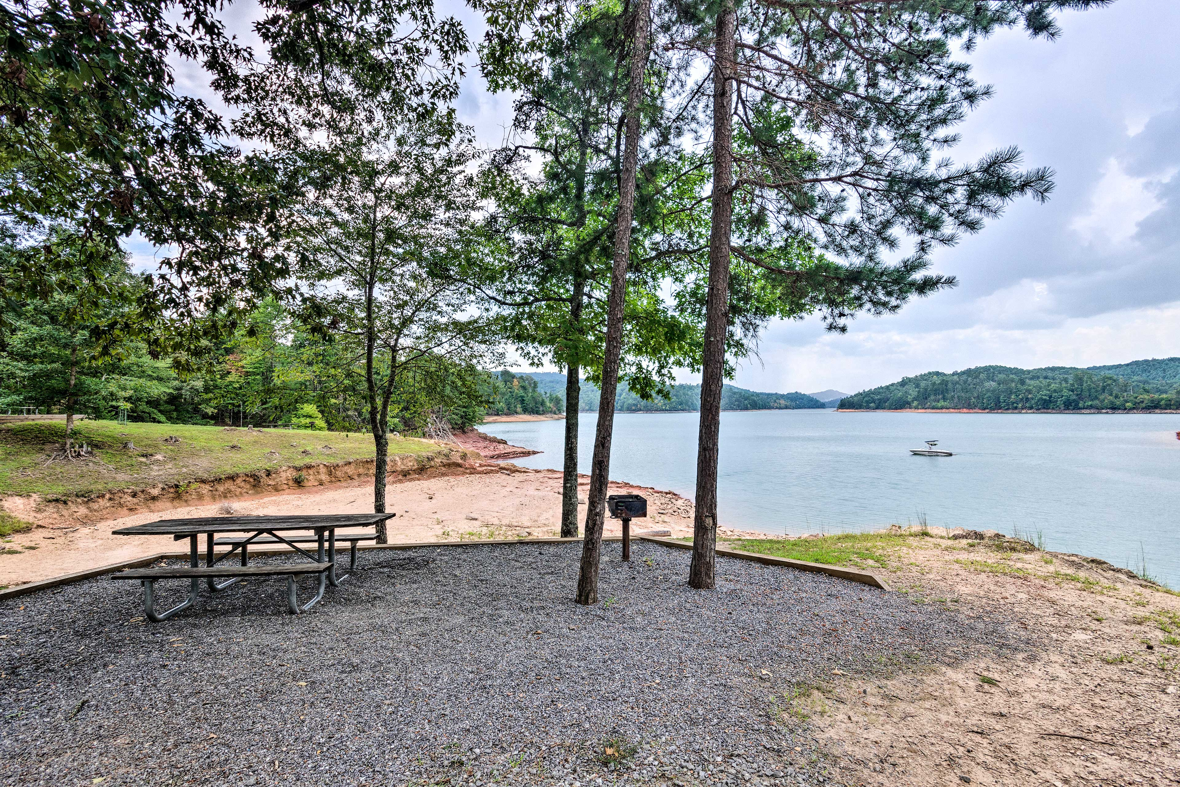 The creek is just steps from this home, complete with a sandy picnic area!