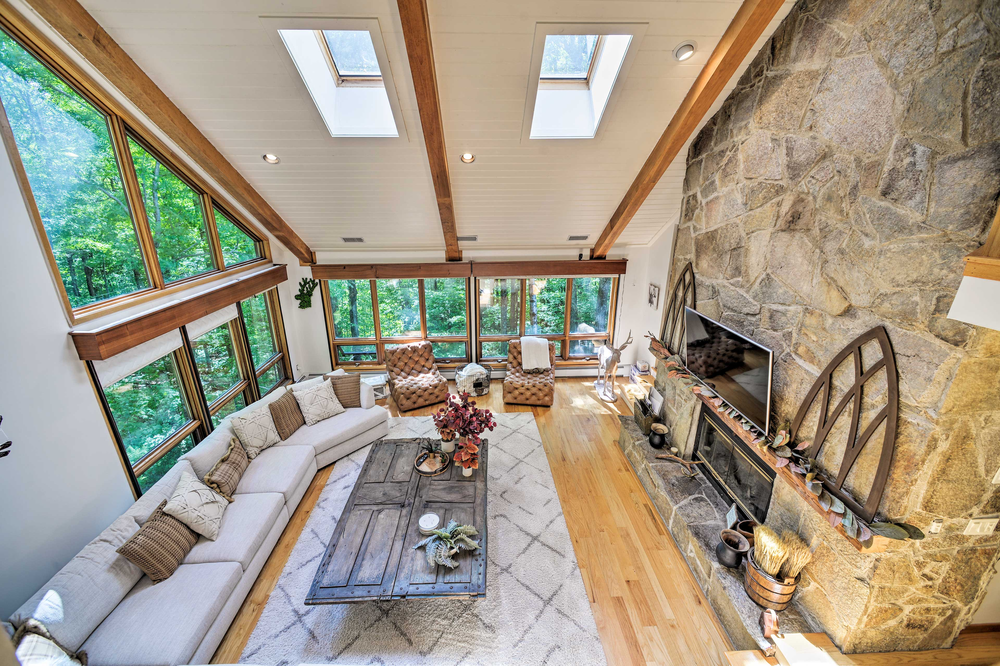 Great Room | Smart TV | Stone Fireplace