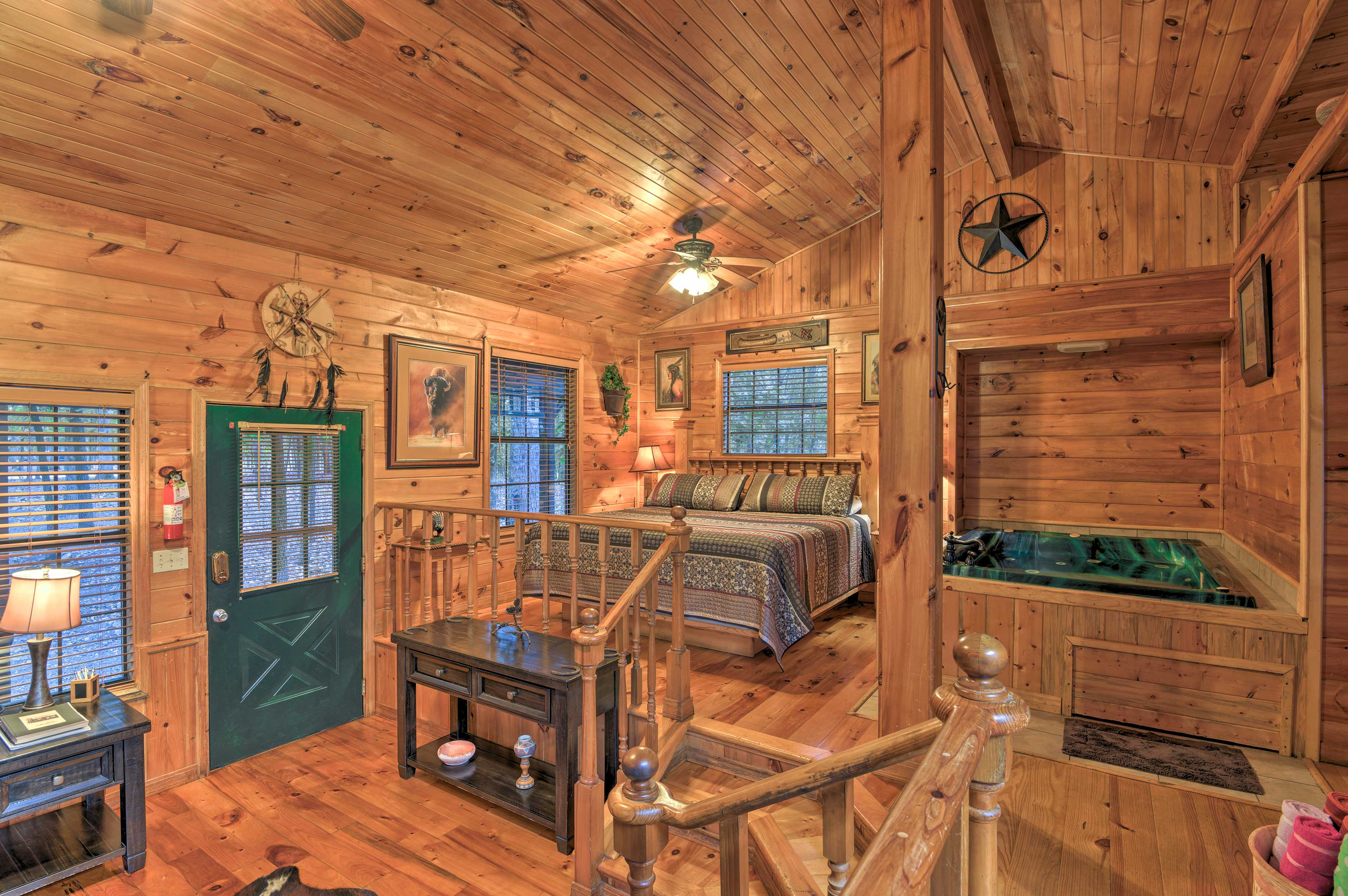 High ceilings soar over this spacious cabin.