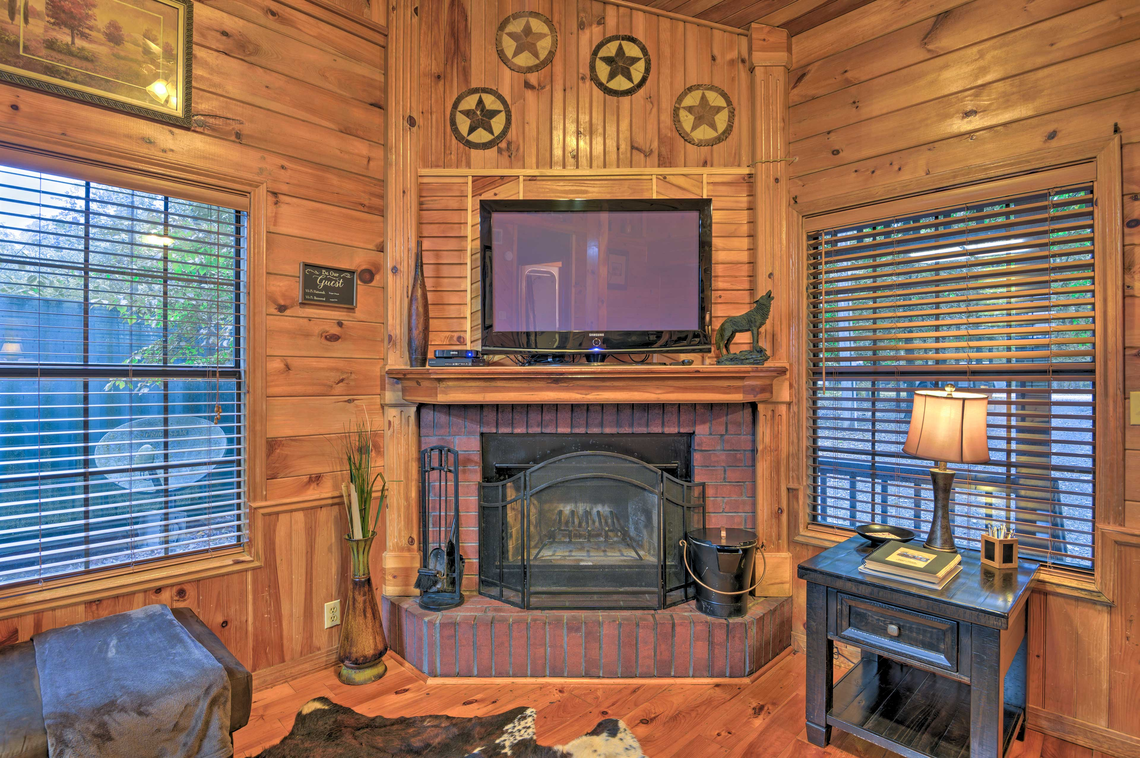 Spend cozy evenings in front of the wood-burning fireplace and Smart TV.