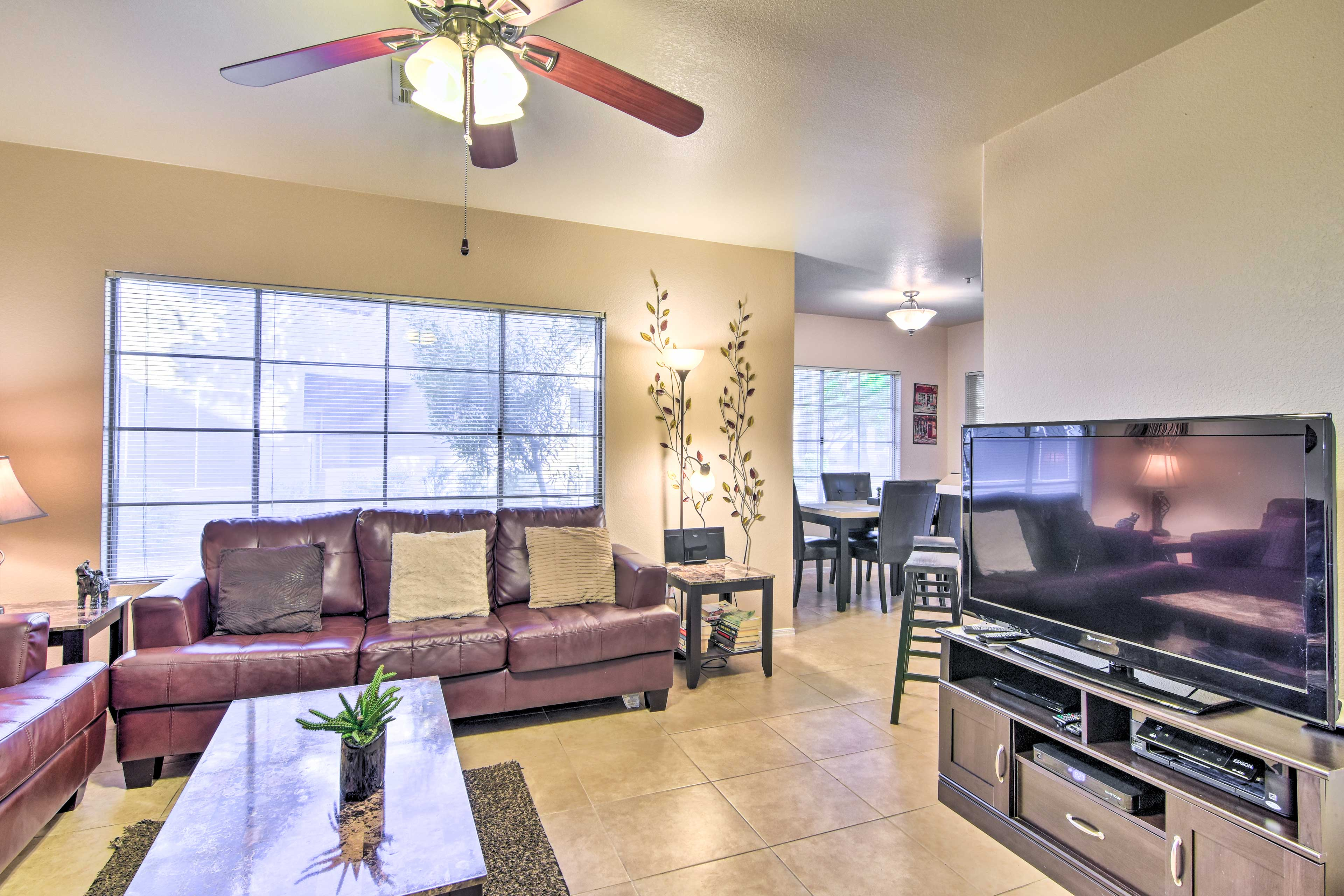 Inside the condo, you'll find a comfortable living room.