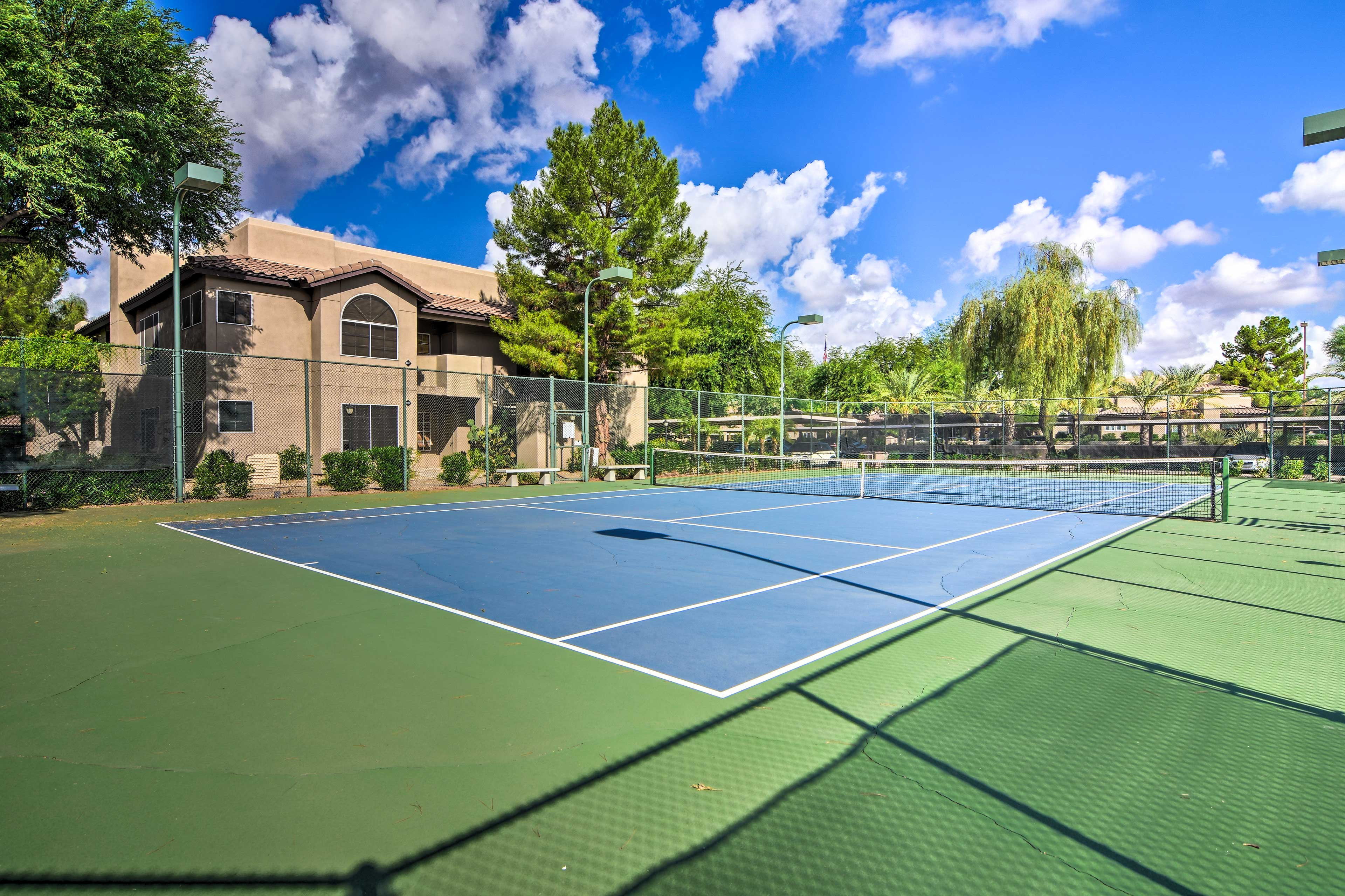 Enjoy a few games of tennis.