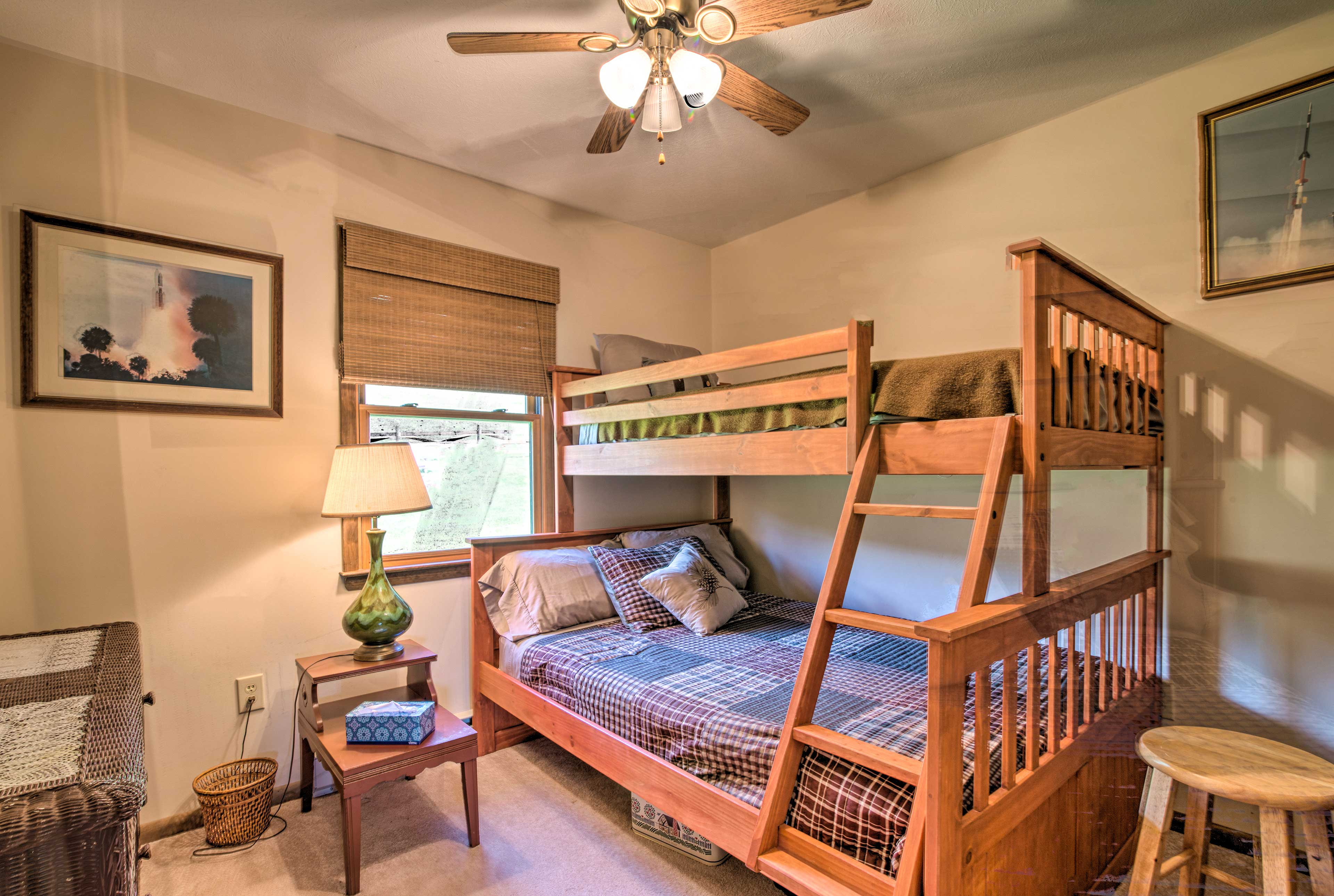 Three guests can comfortably sleep it in this bunk bed.