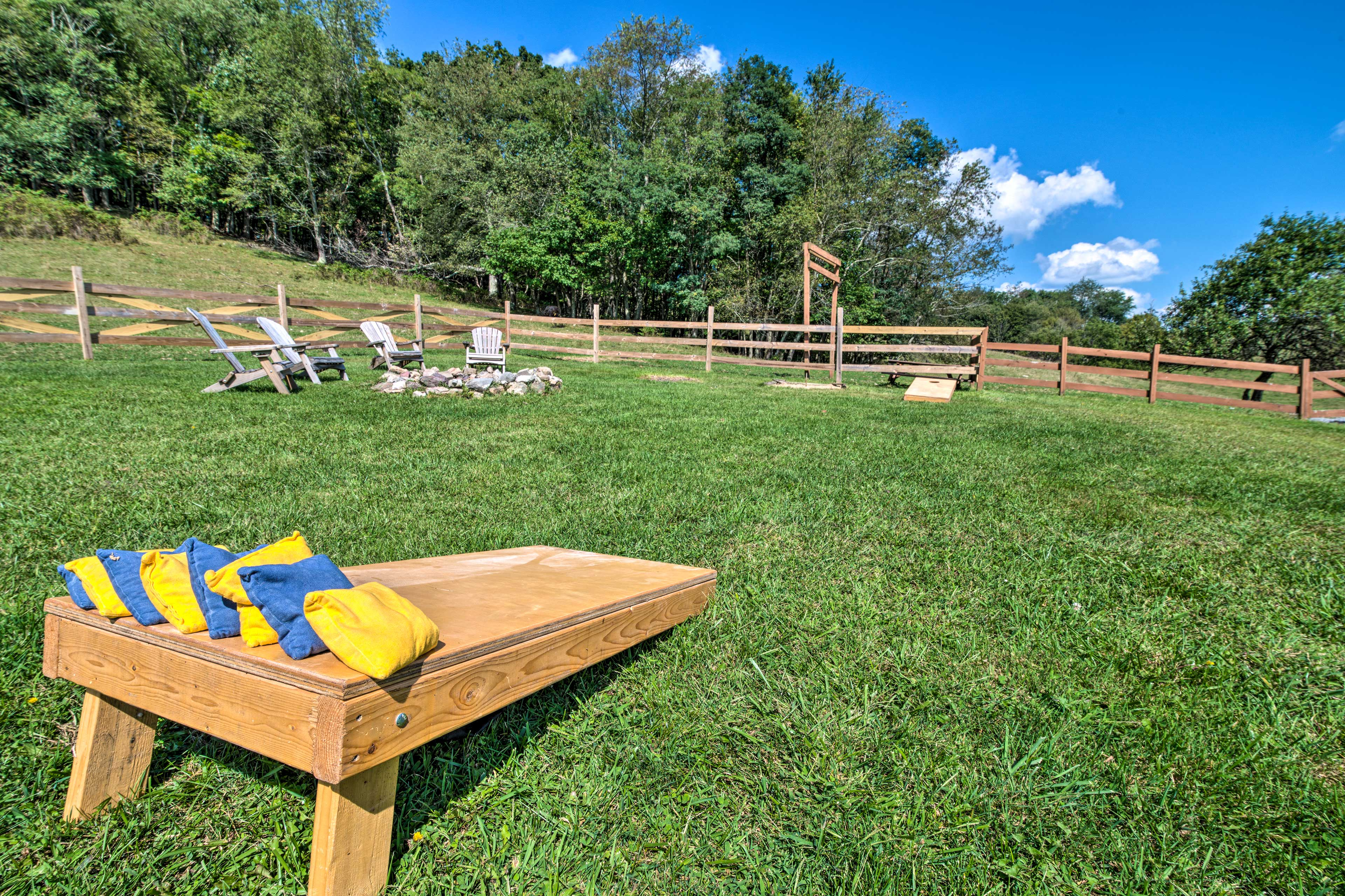 Play cornhole or horseshoes with the kids.