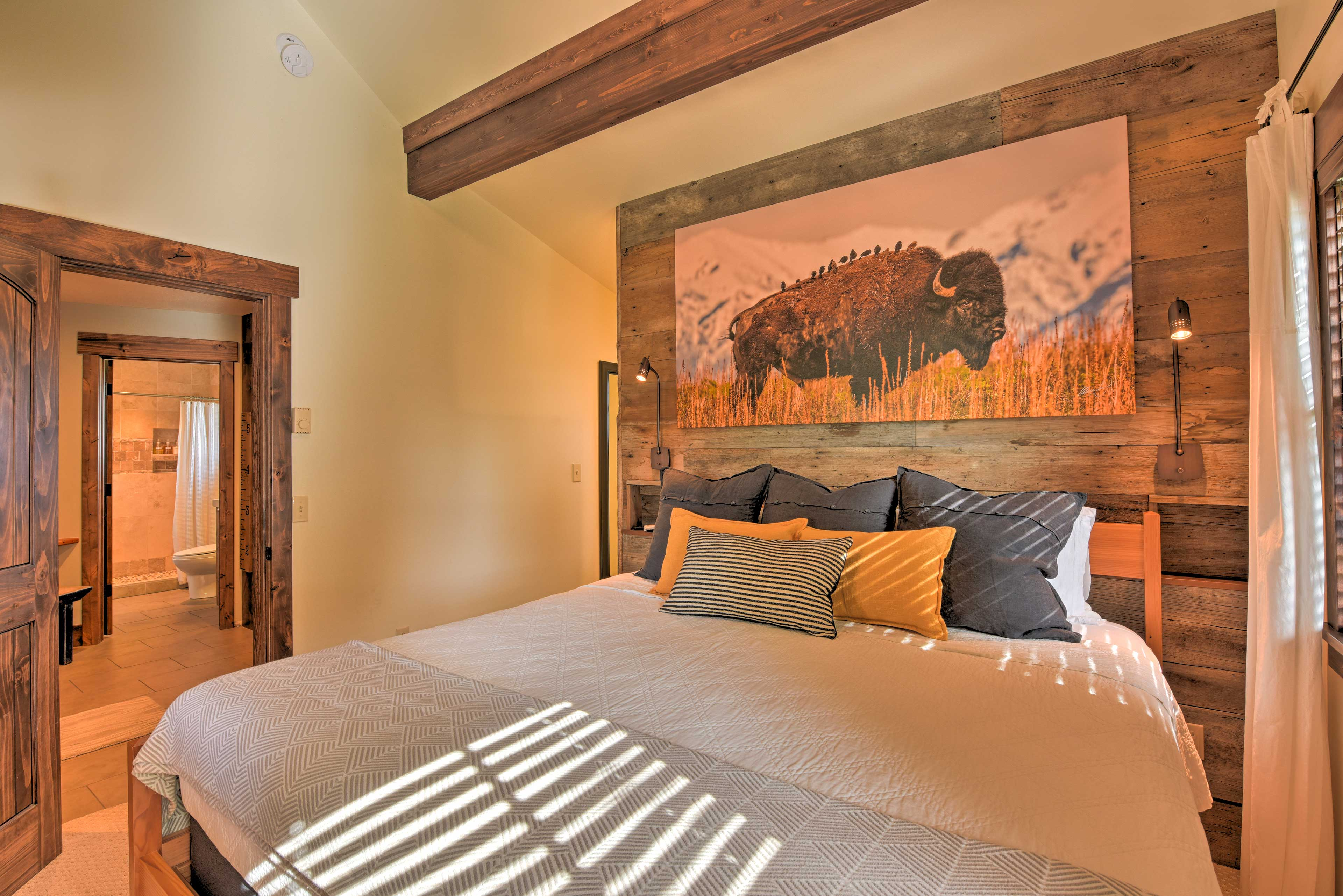 Master Bedroom | Exposed Wood Beams | Night Lights