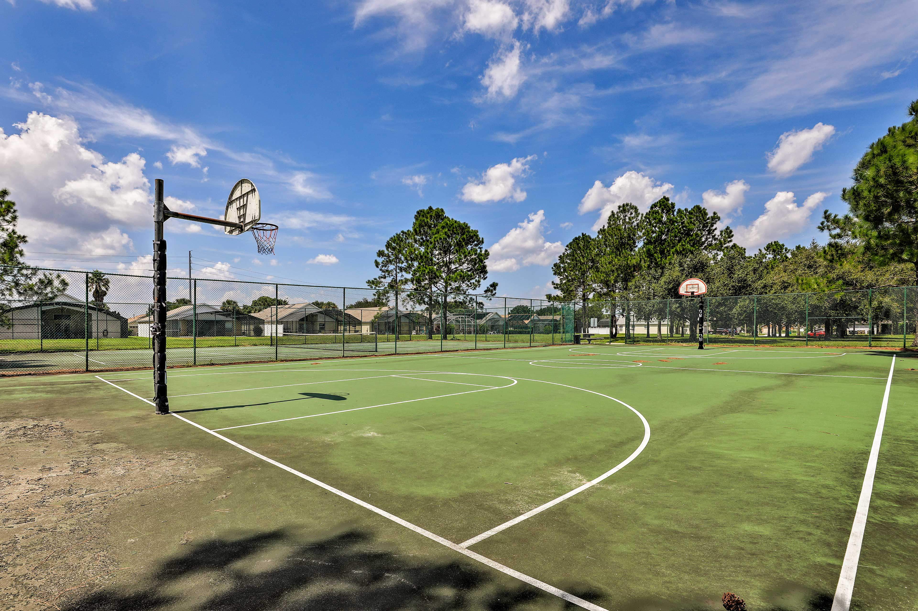 Think you can play ball? Head out to the community basketball court!