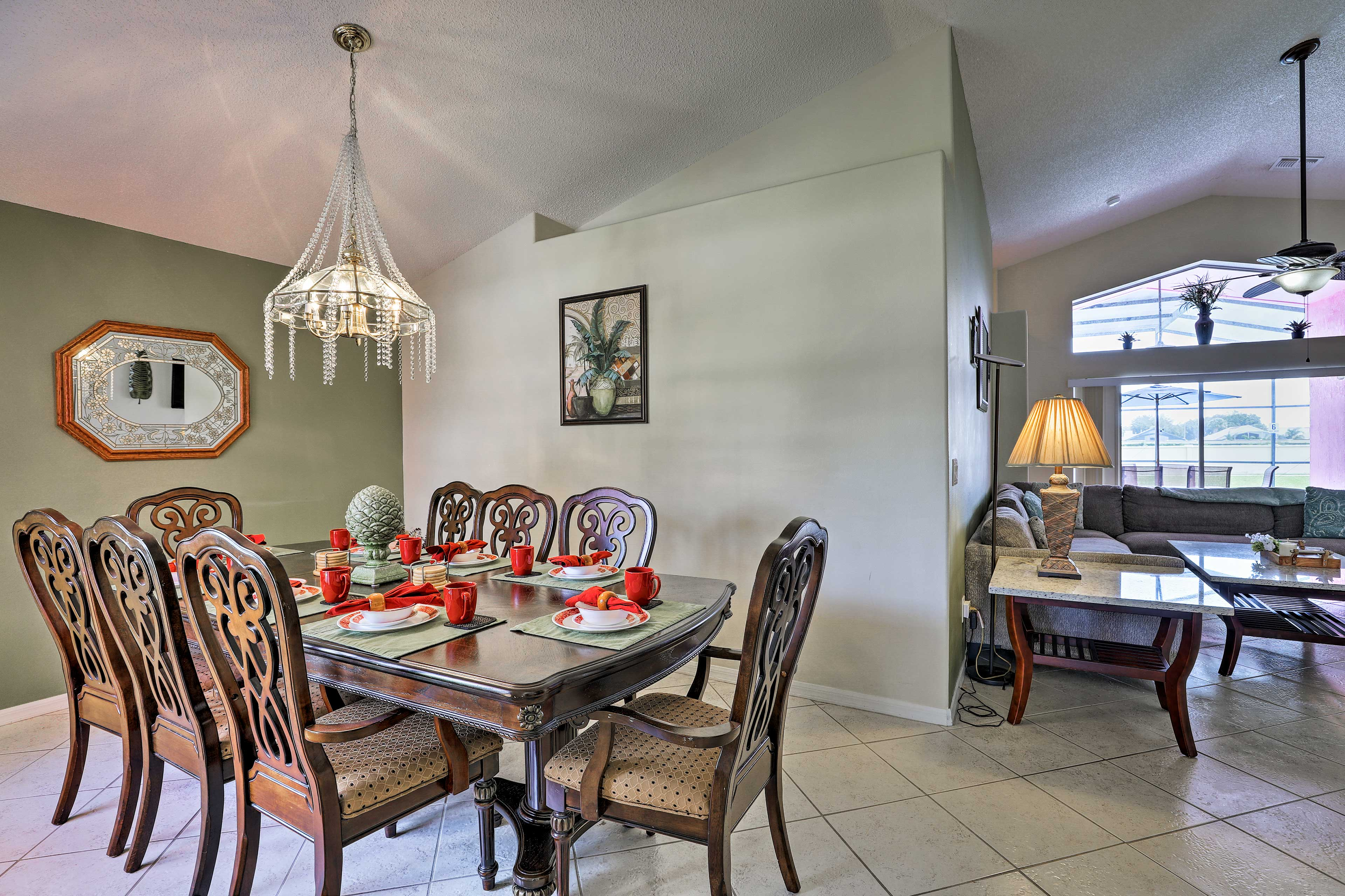 Grab a seat at the 8-person dining table.