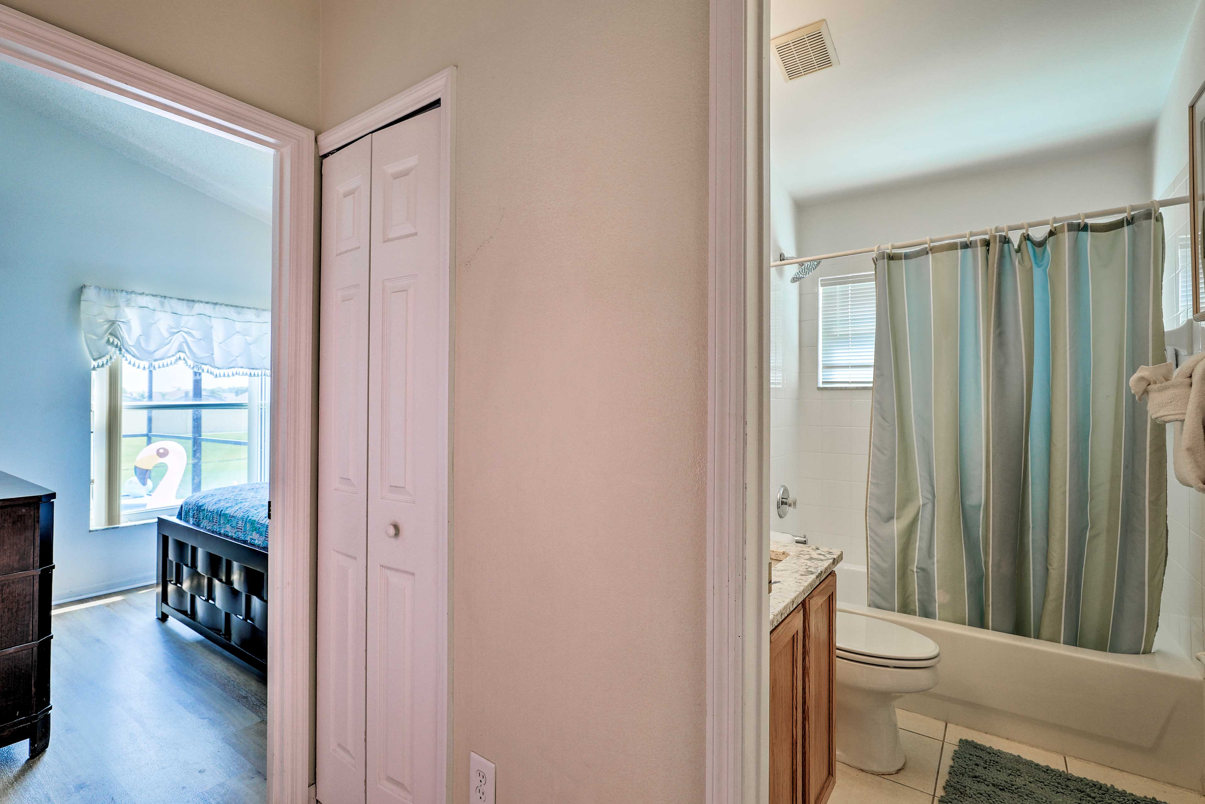 The bathroom is conveniently located right next to bedroom 3.