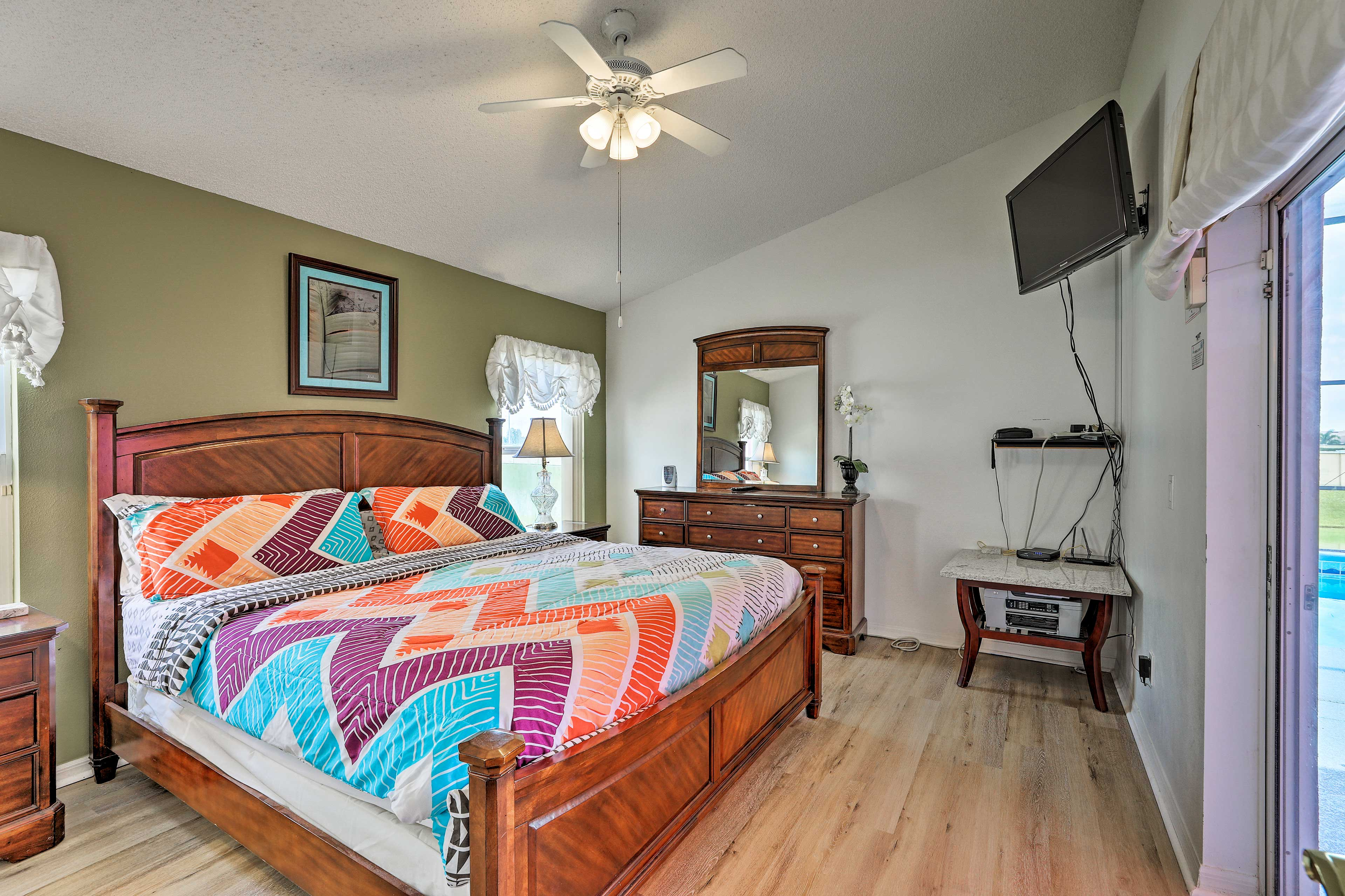 The master bedroom features a California king bed!