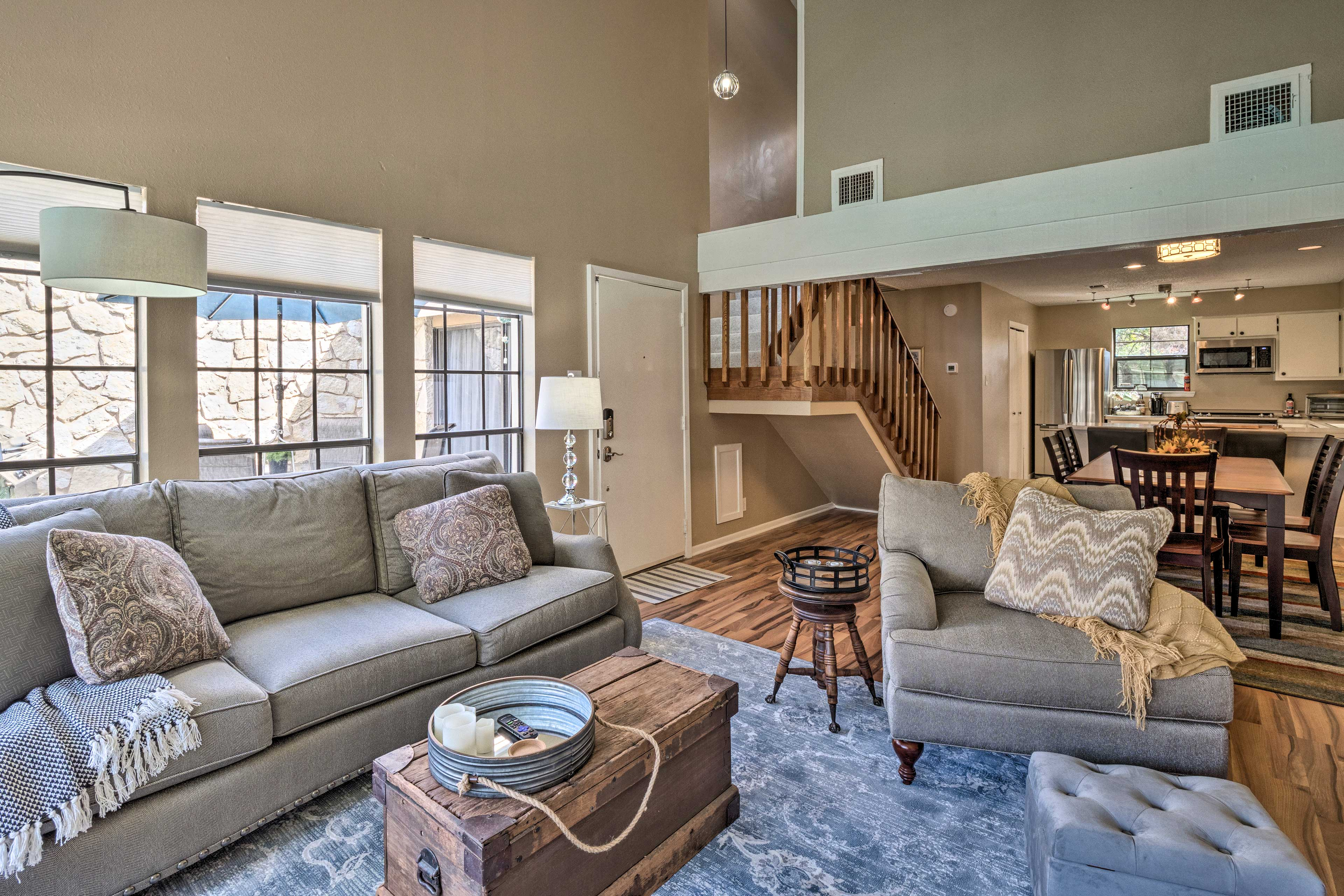 The high ceilings allow the living room to feel very spacious.