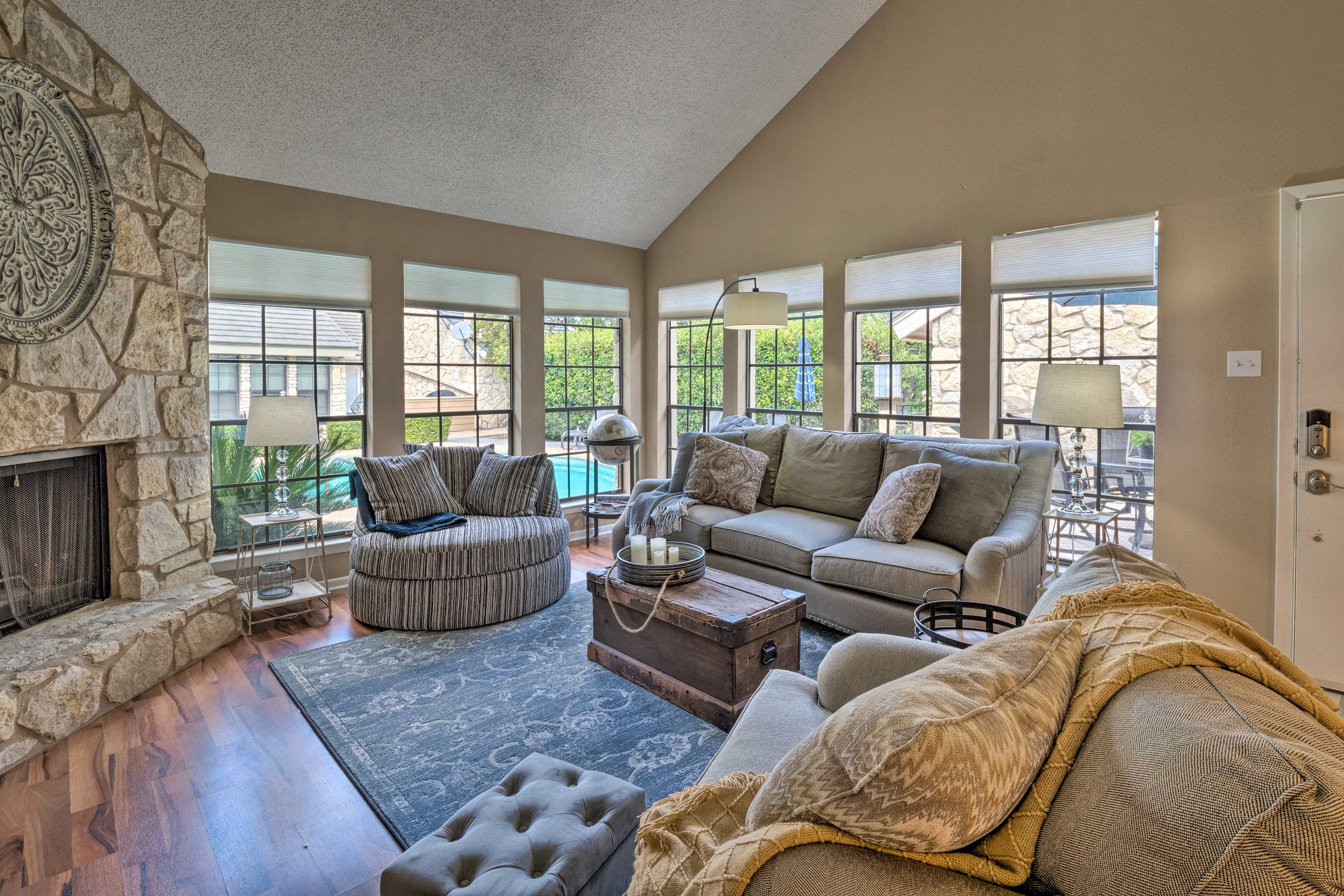 Let the natural light flow into the living room.