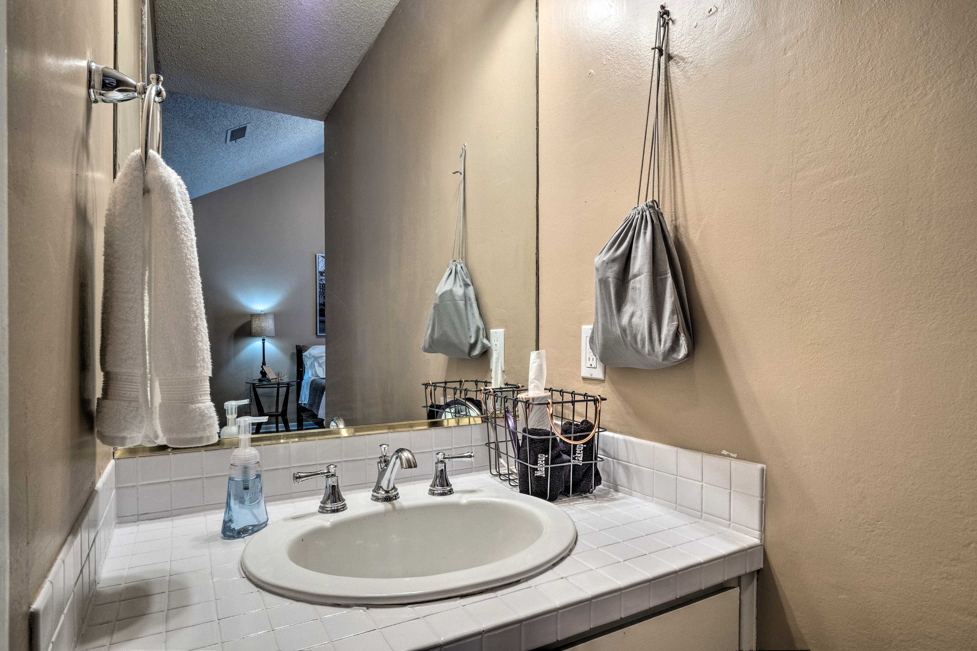 Wash up in the en-suite bathroom.