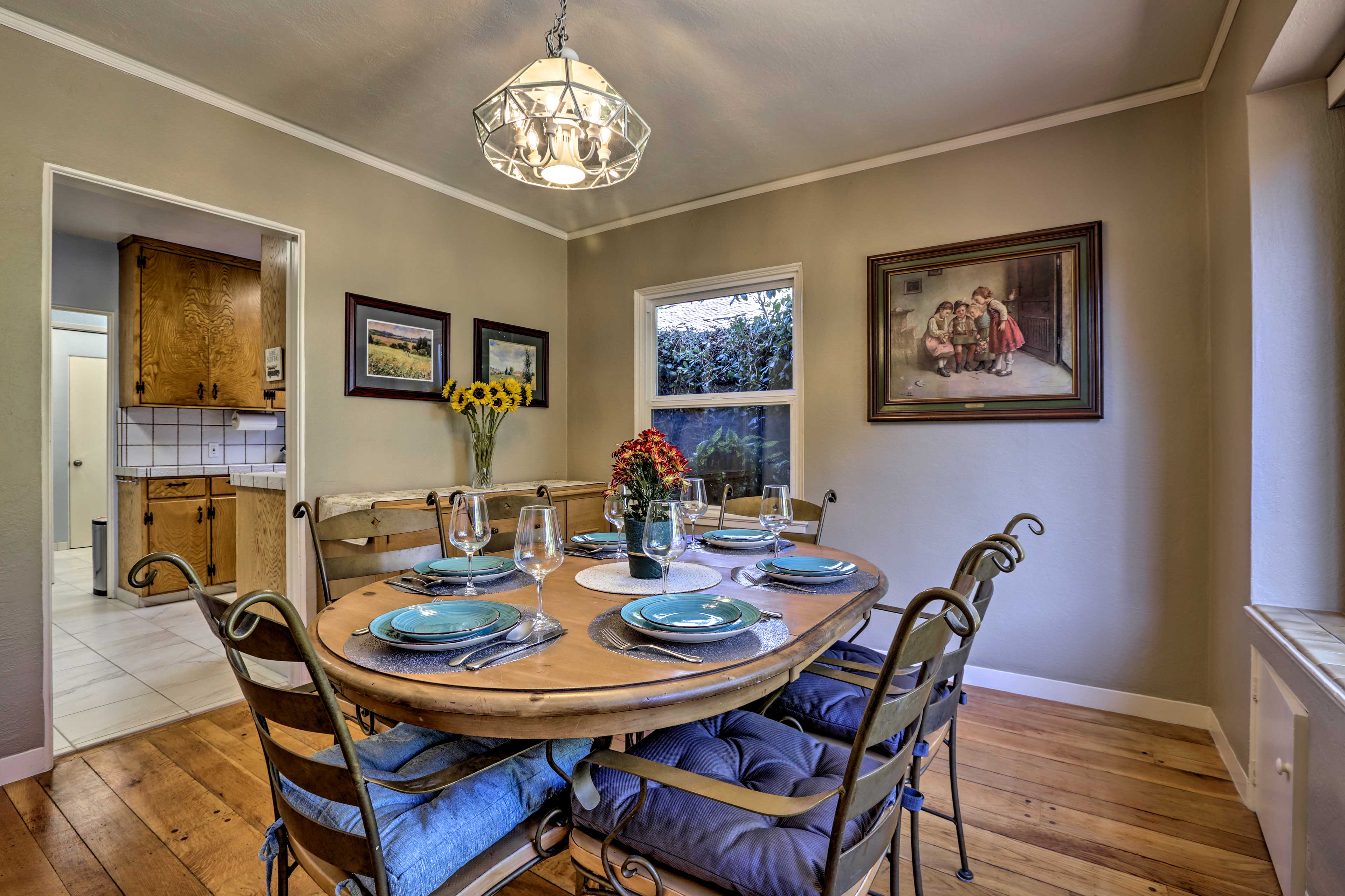 Host a formal dinner at the family-style dining table.