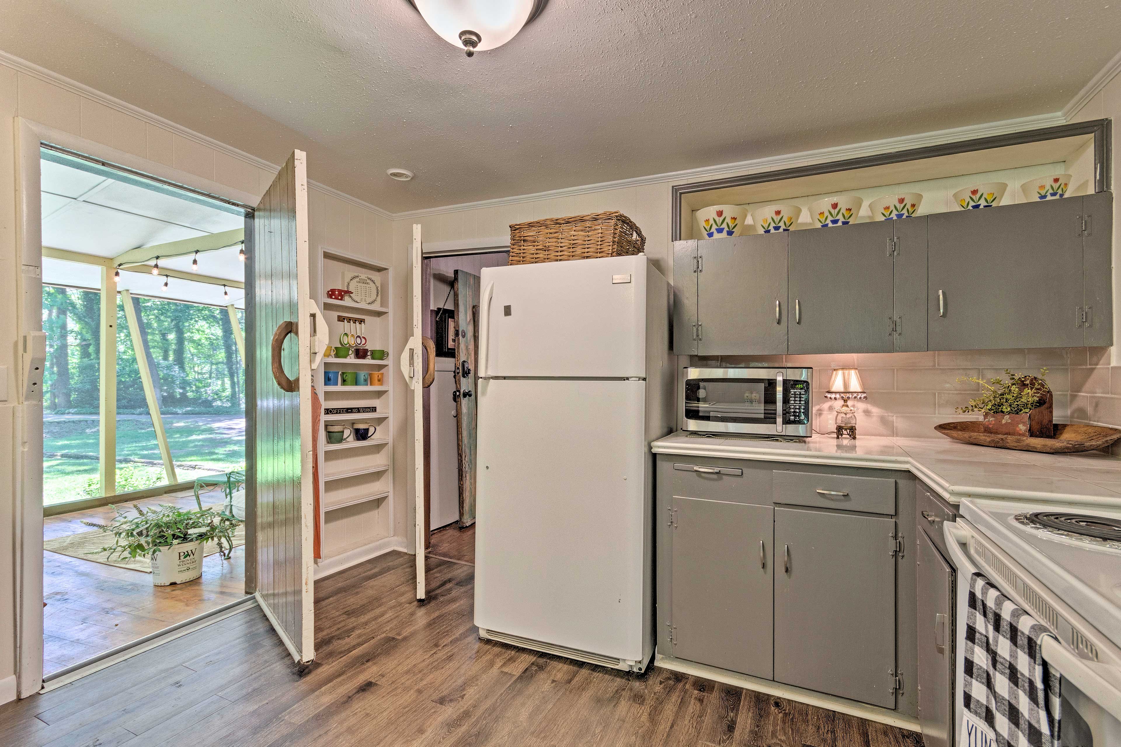 The kitchen is accessible just through the open doorway.