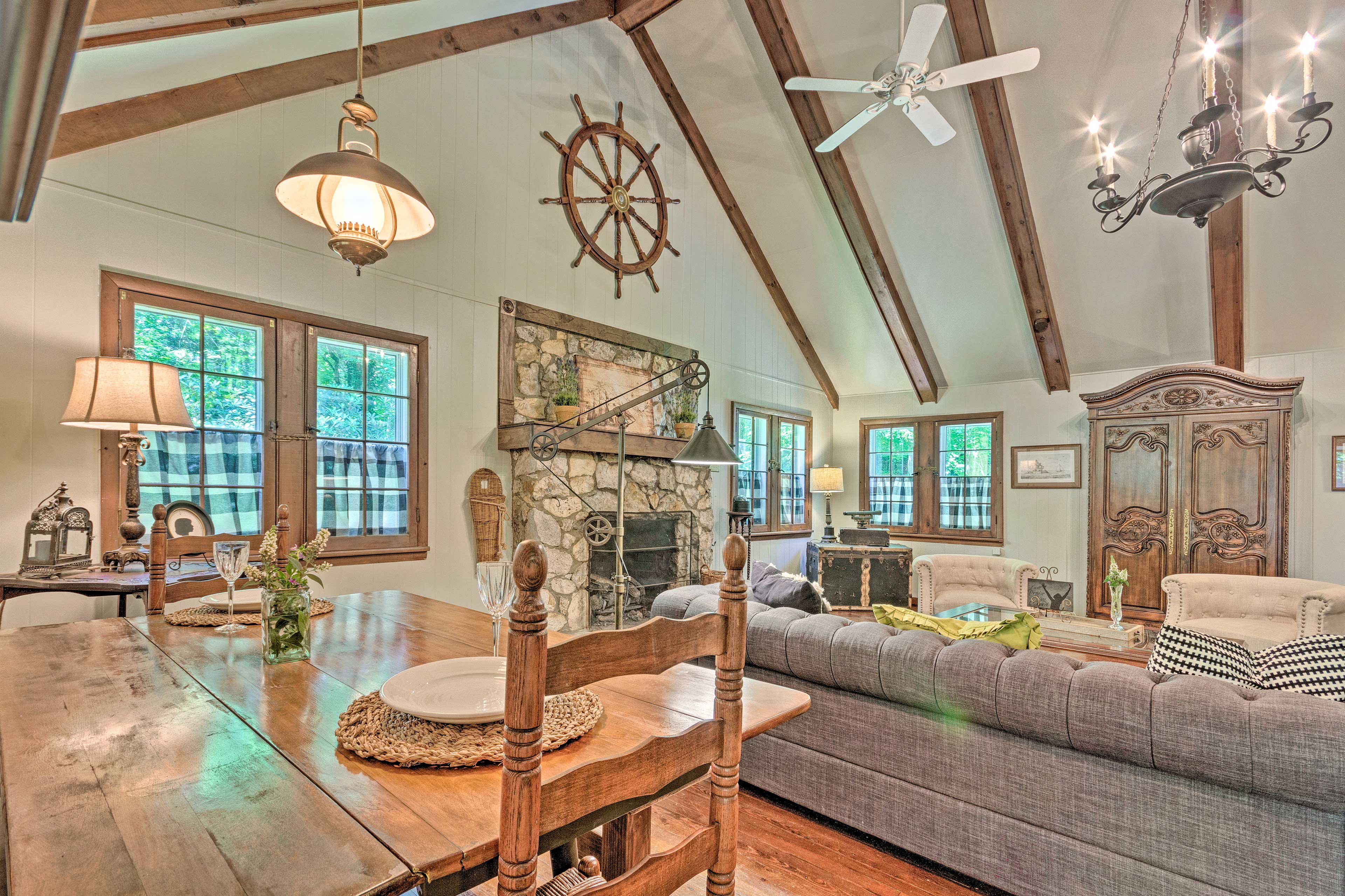 Unwind in the sunroom as you sip coffee or a glass of wine.