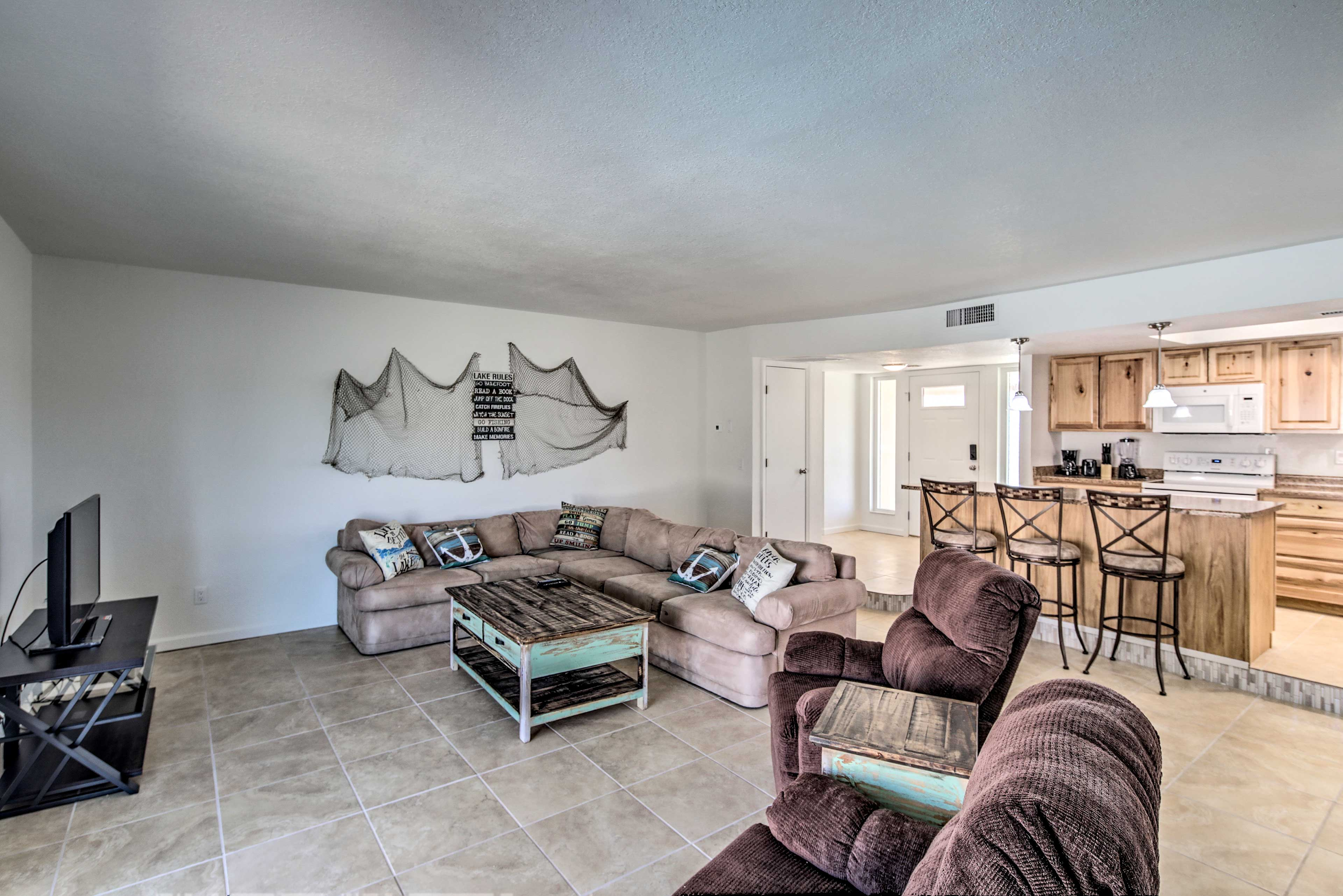 Up to 10 guests can stay in this comfortable home.