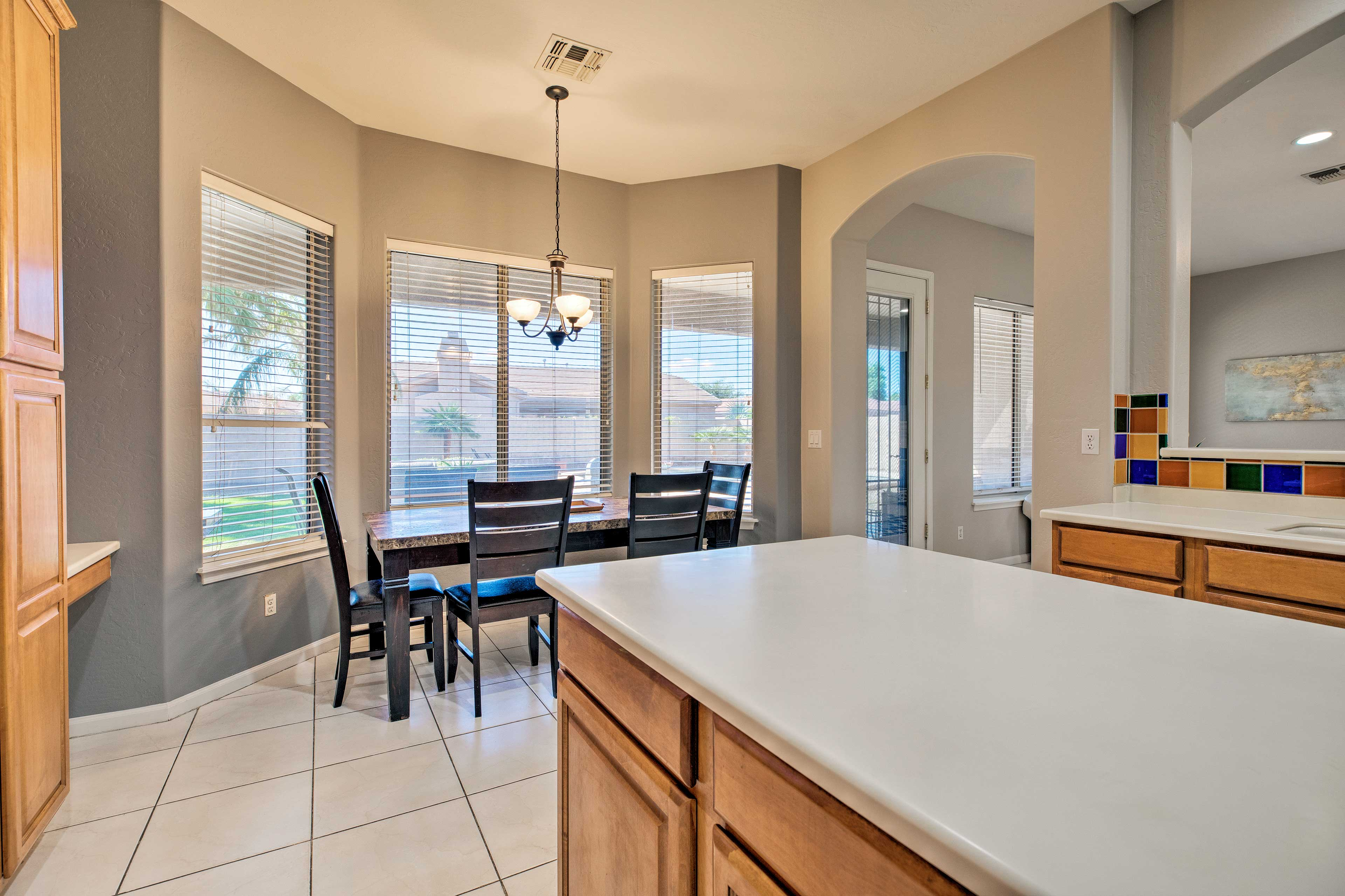 There is ample counter space to prepare your culinary creations.