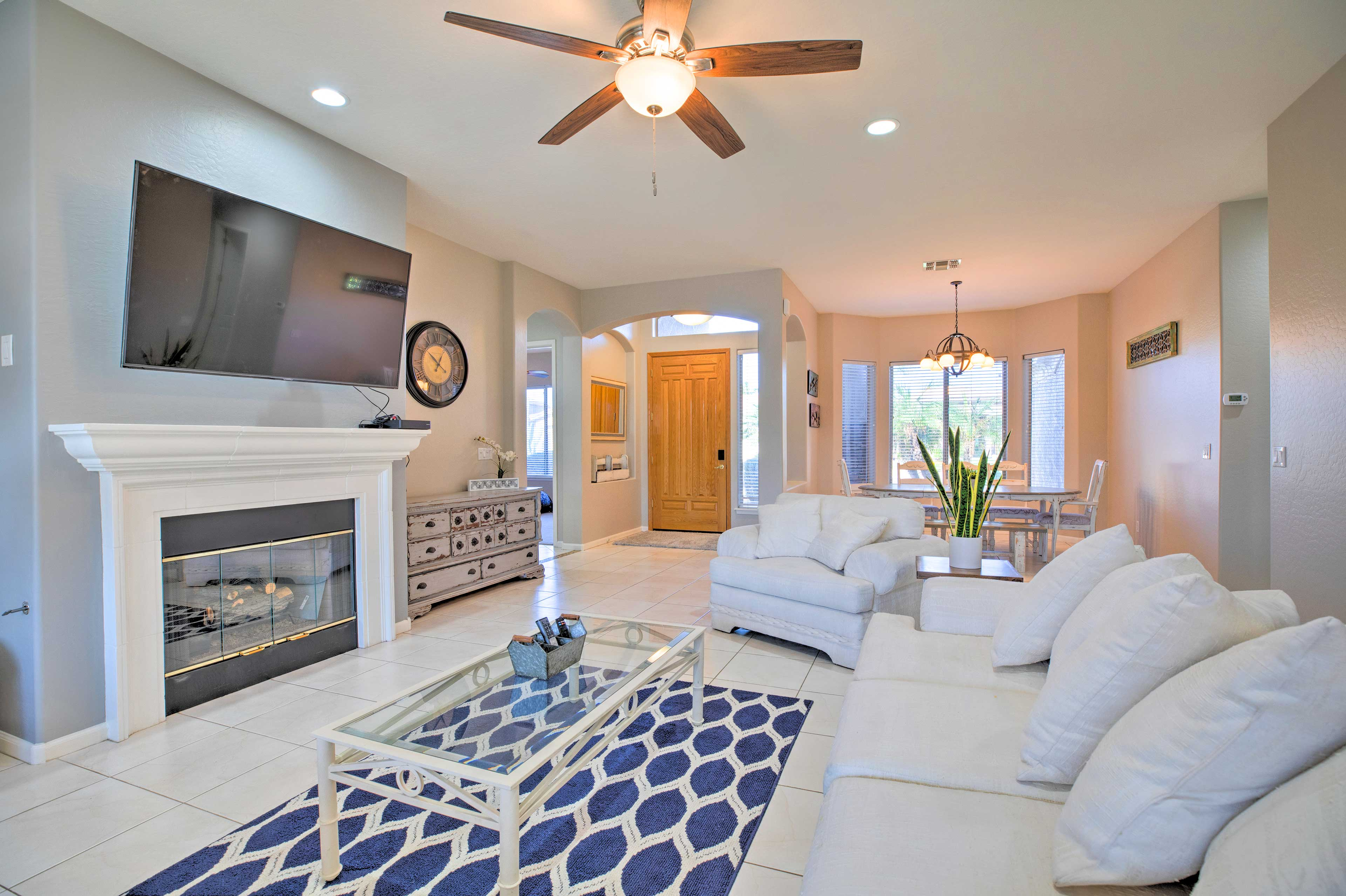 The 4-bed, 2-bath vacation rental boasts ample upscale comforts.