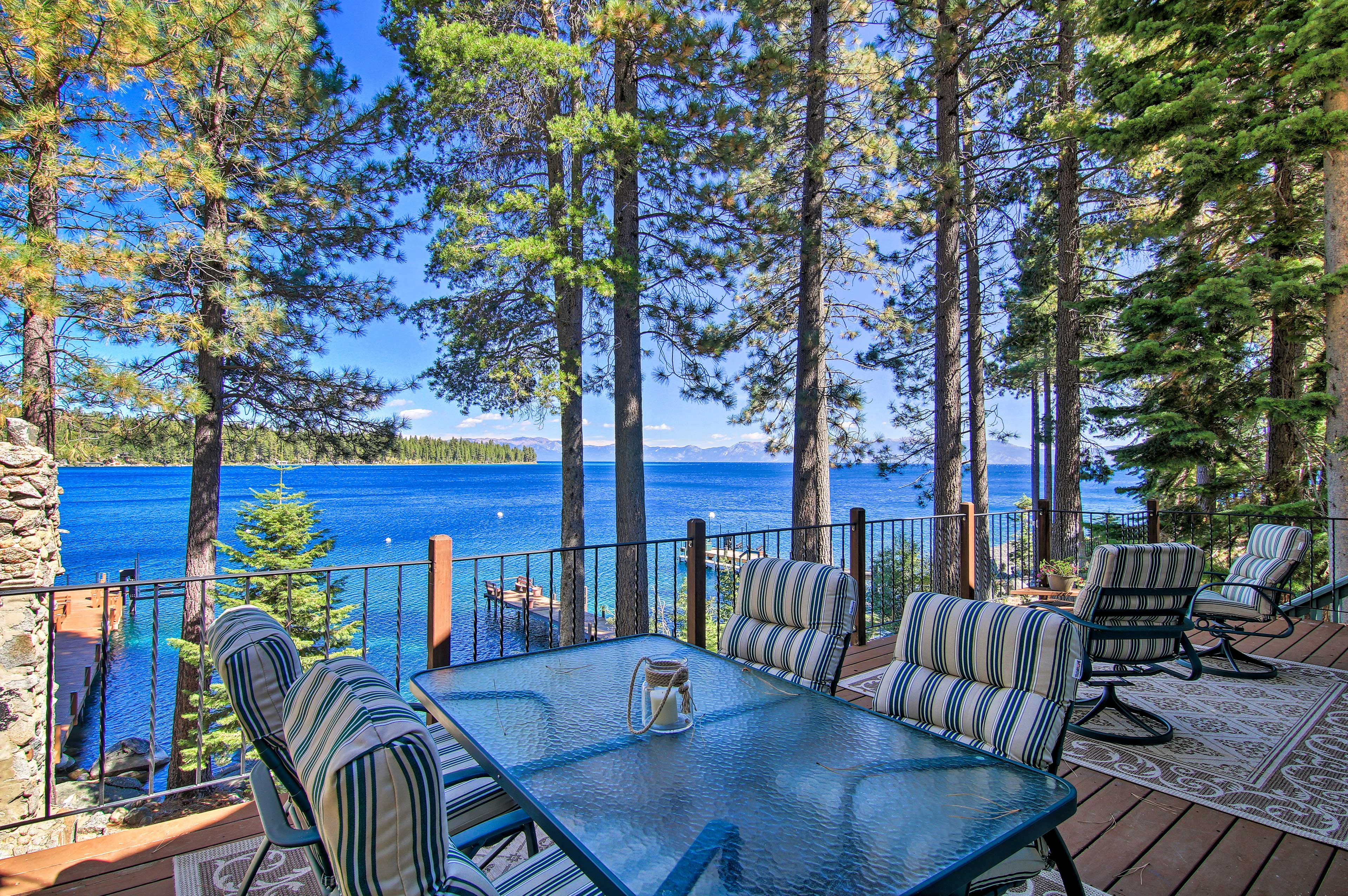 Take in views of Lake Tahoe from the deck of this Tahoma vacation rental Home.