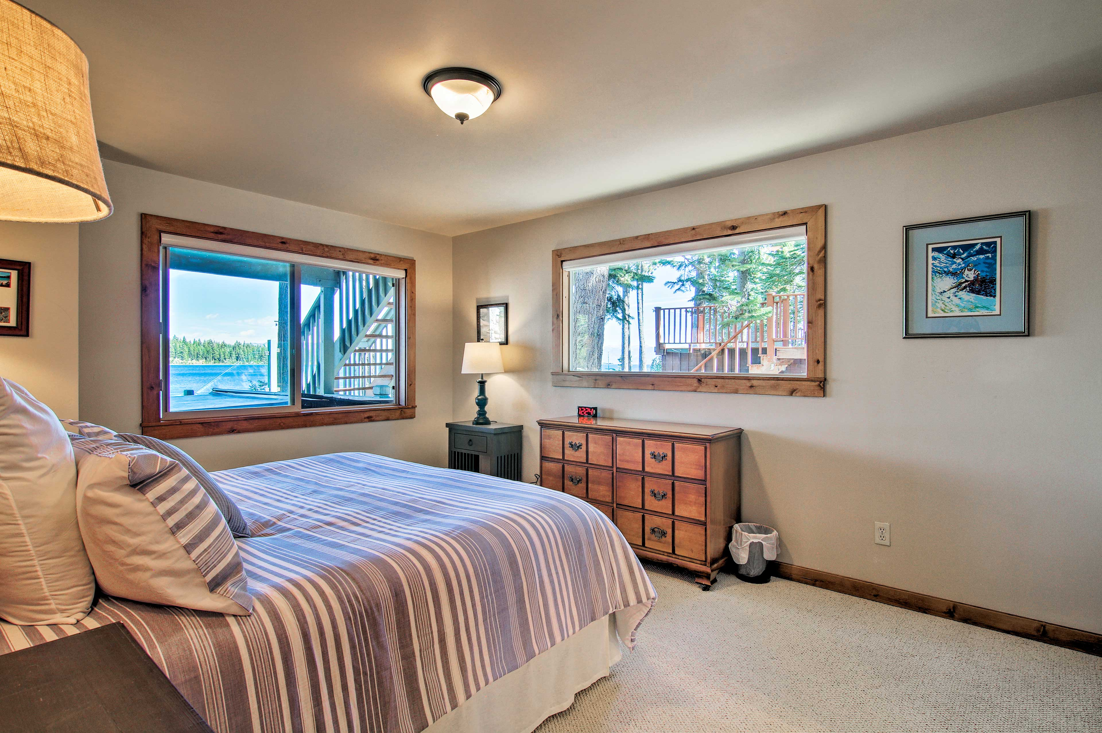 Wake up to views of the blue lake water.