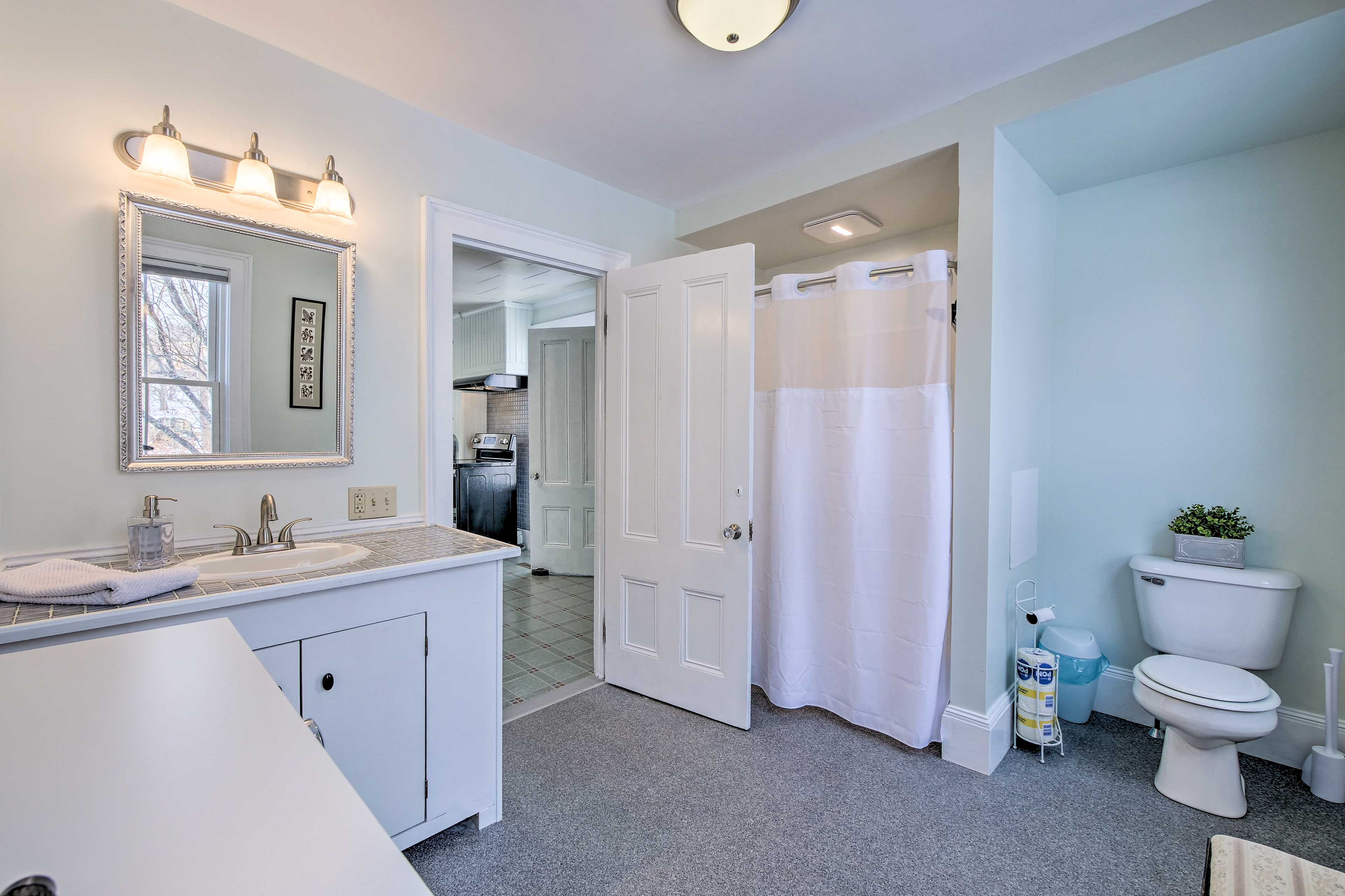 The main bathroom is located on the first floor.