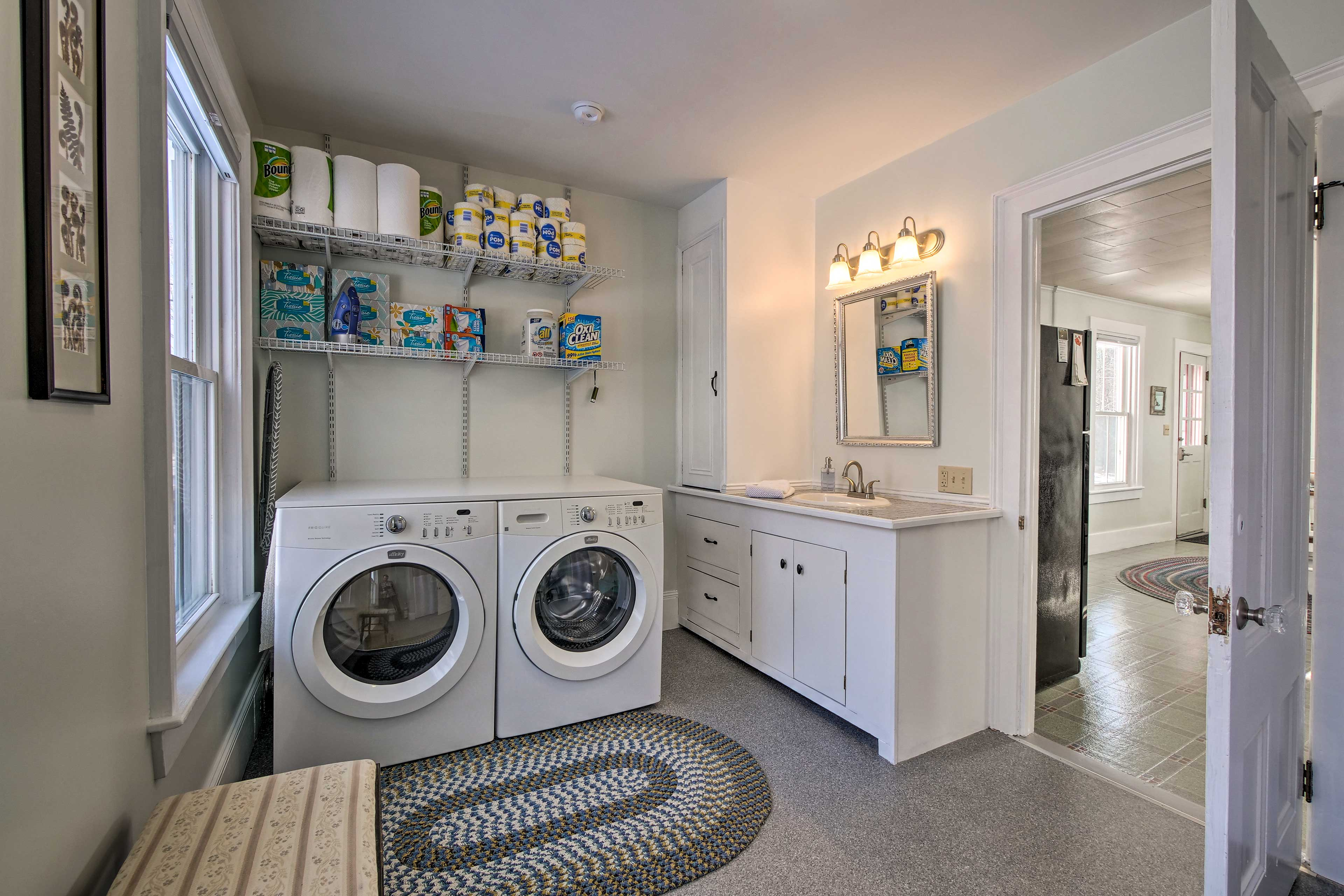 The main bathroom also has laundry machines to keep you looking fresh!