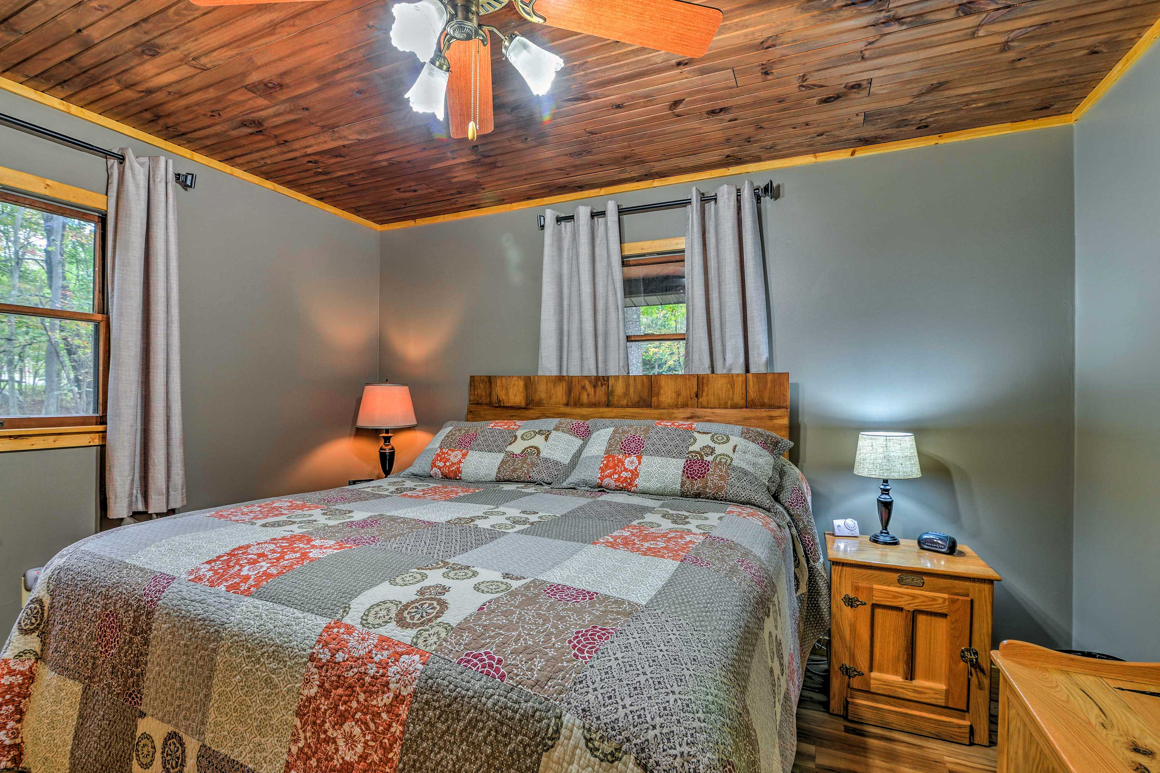 The first bedroom features a king bed.