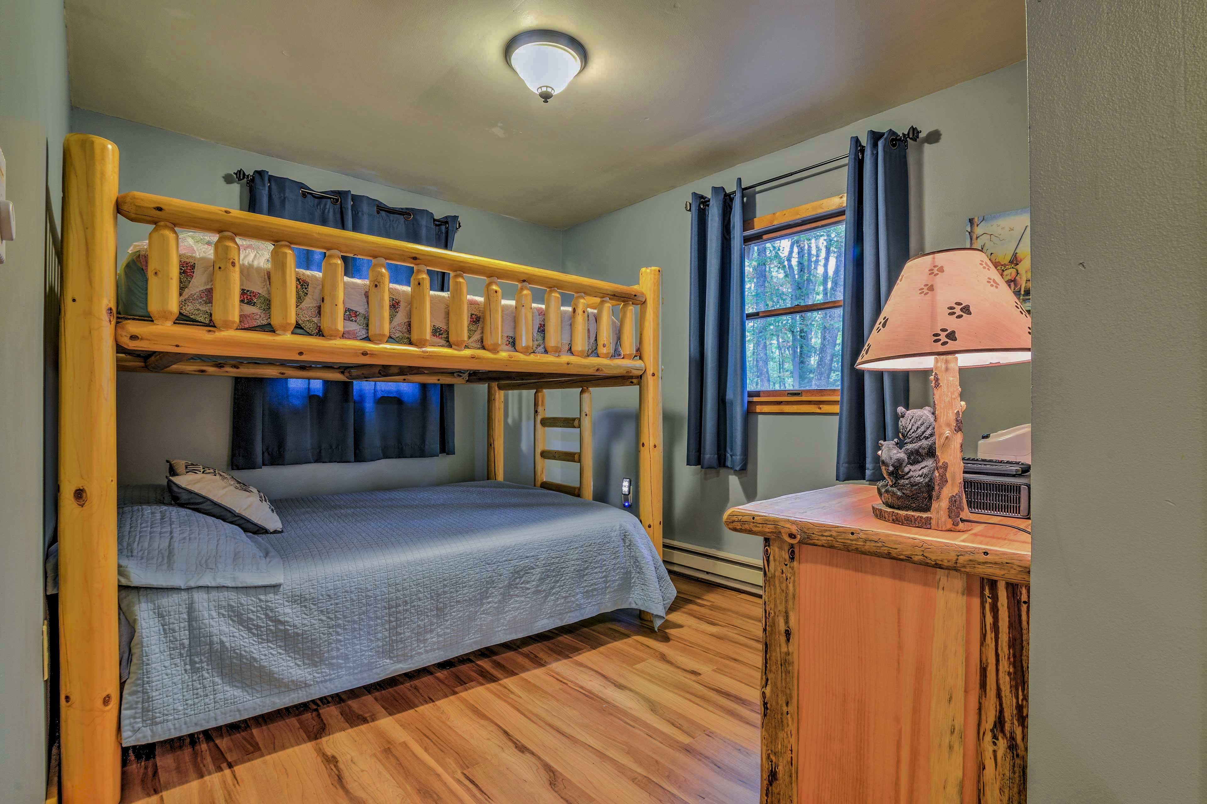 The third bedroom is outfitted with a queen bunk bed.