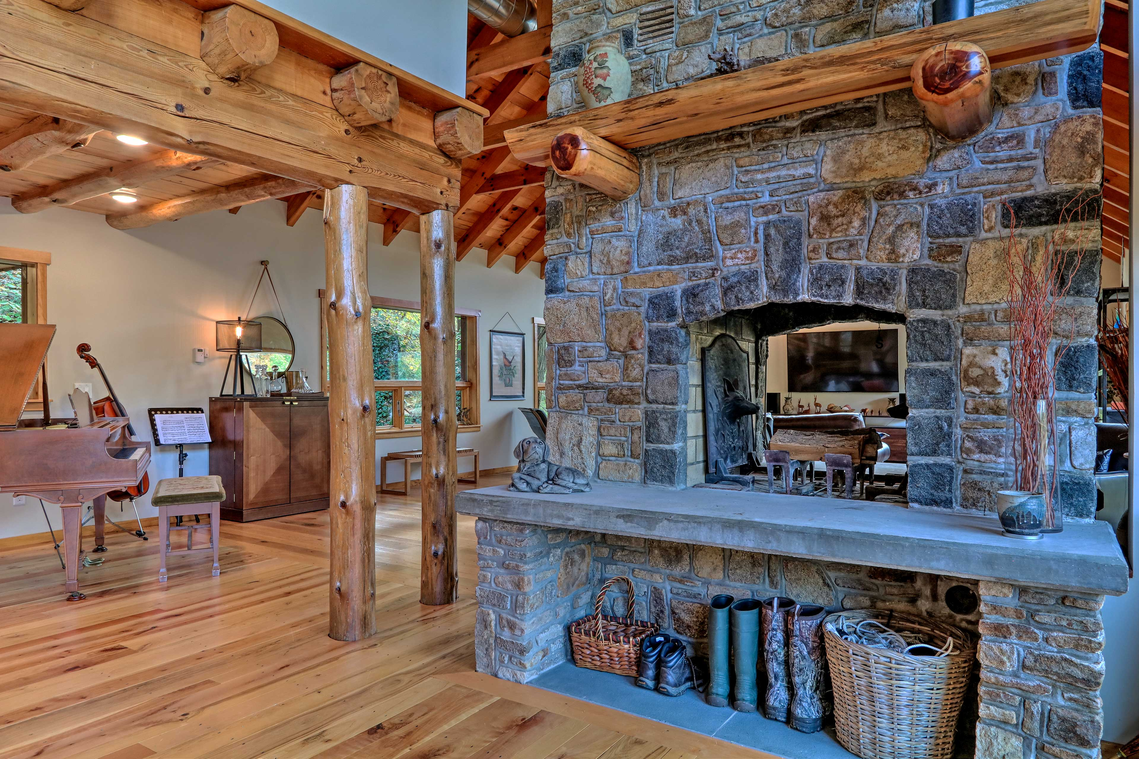 With a central location, this fireplace warms the entire open-concept layout.