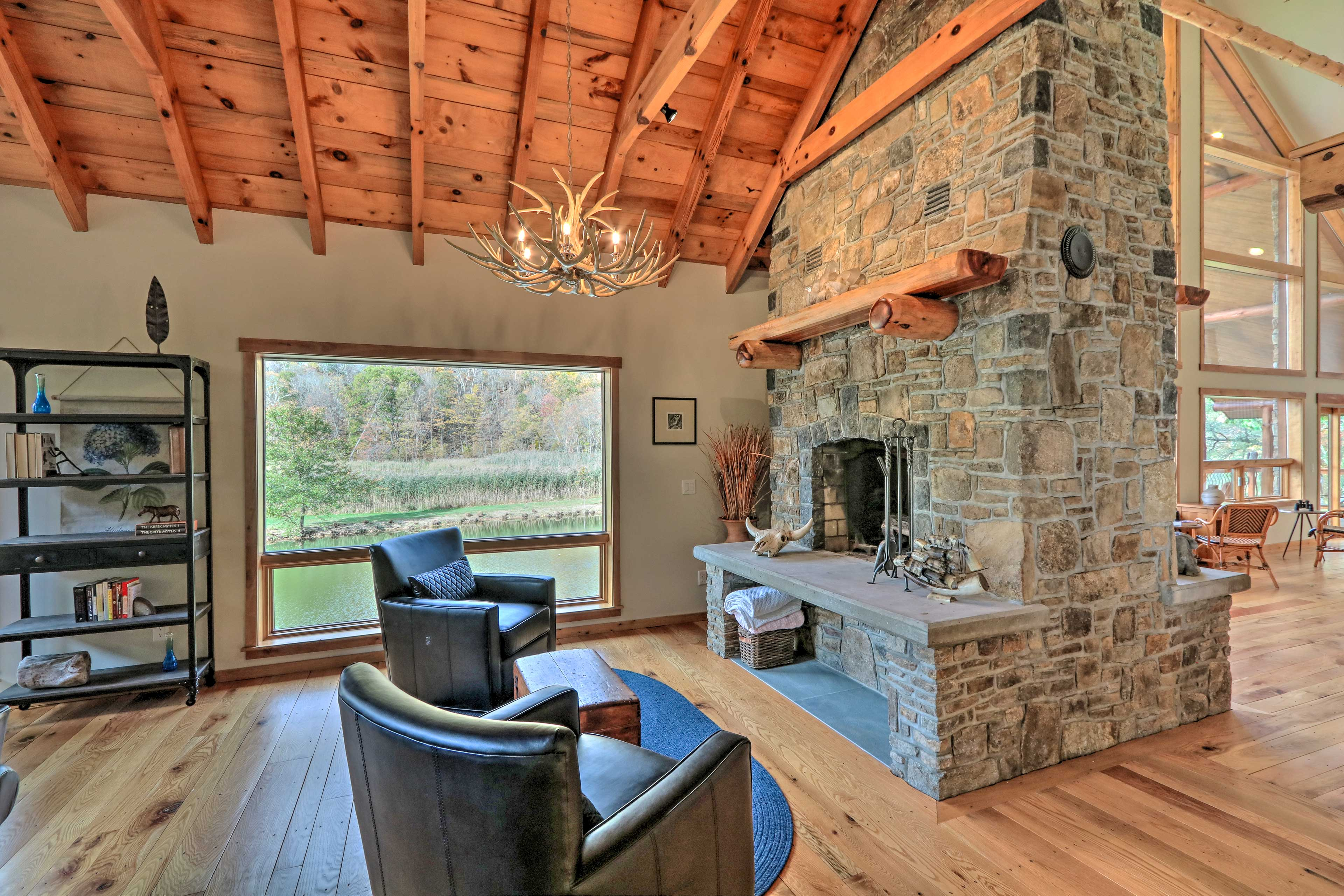 Tell ghost stories next to this impressive stone fireplace.