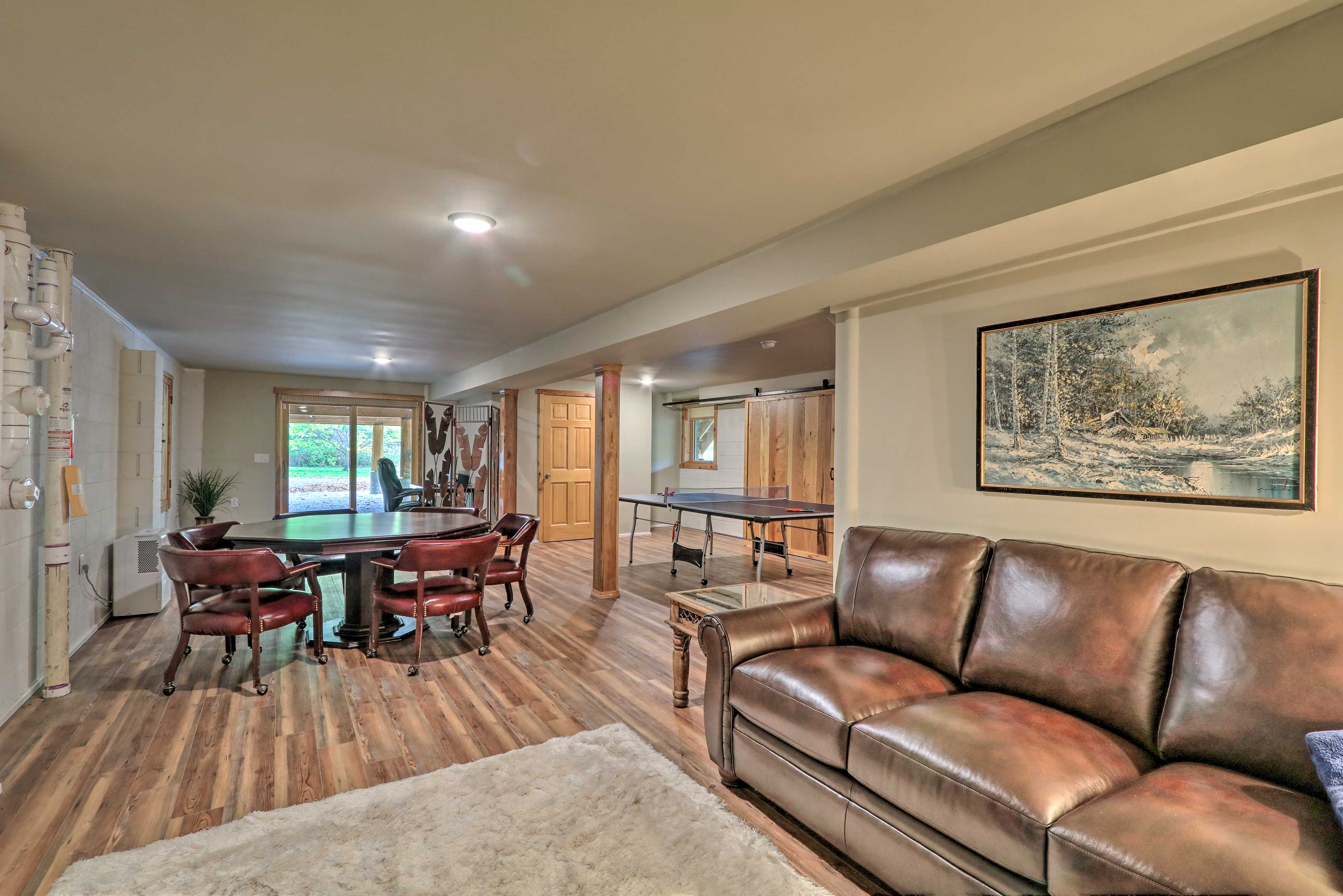 Downstairs, you'll find a game room!