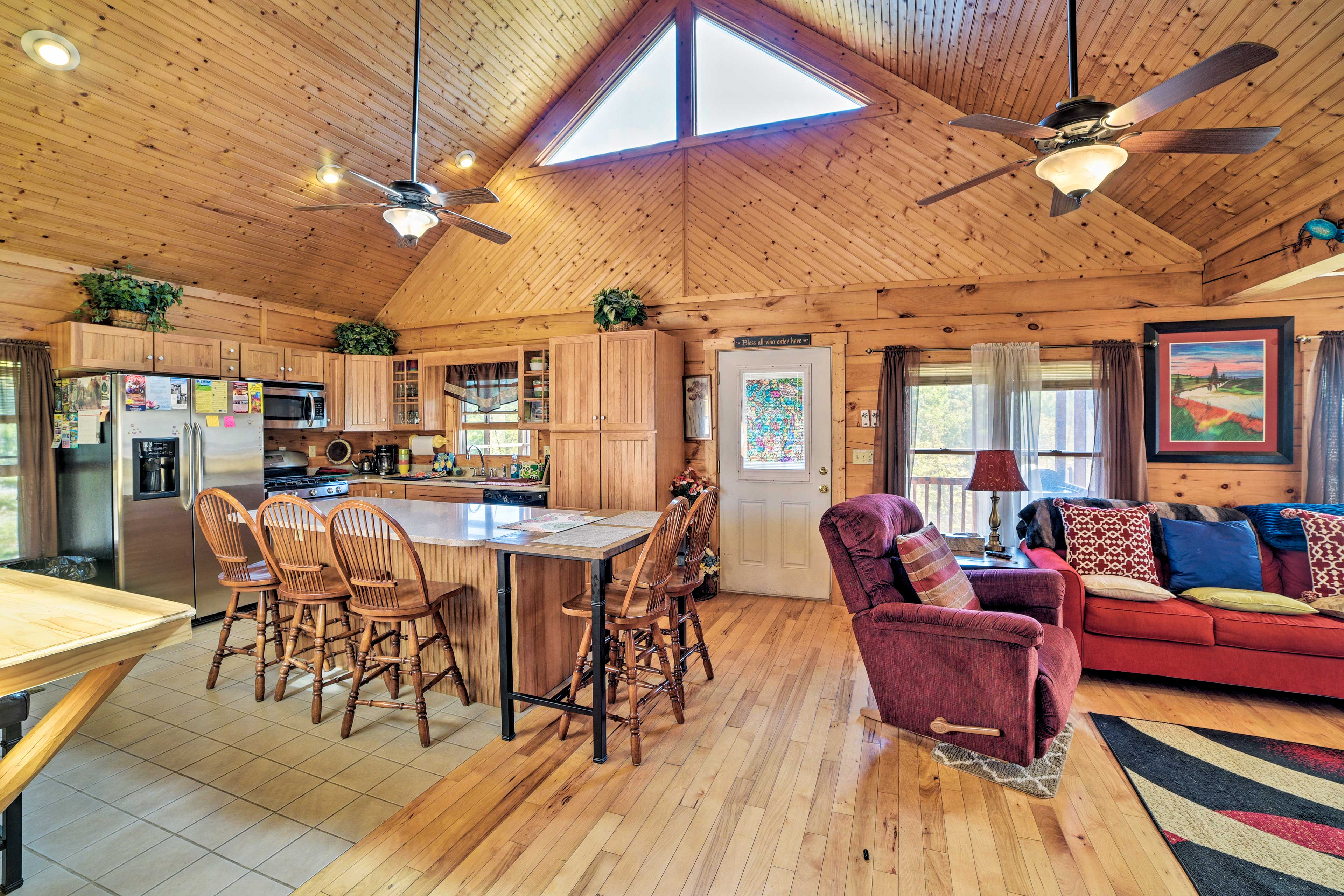 With elevated ceilings, this cabin feels very roomy.