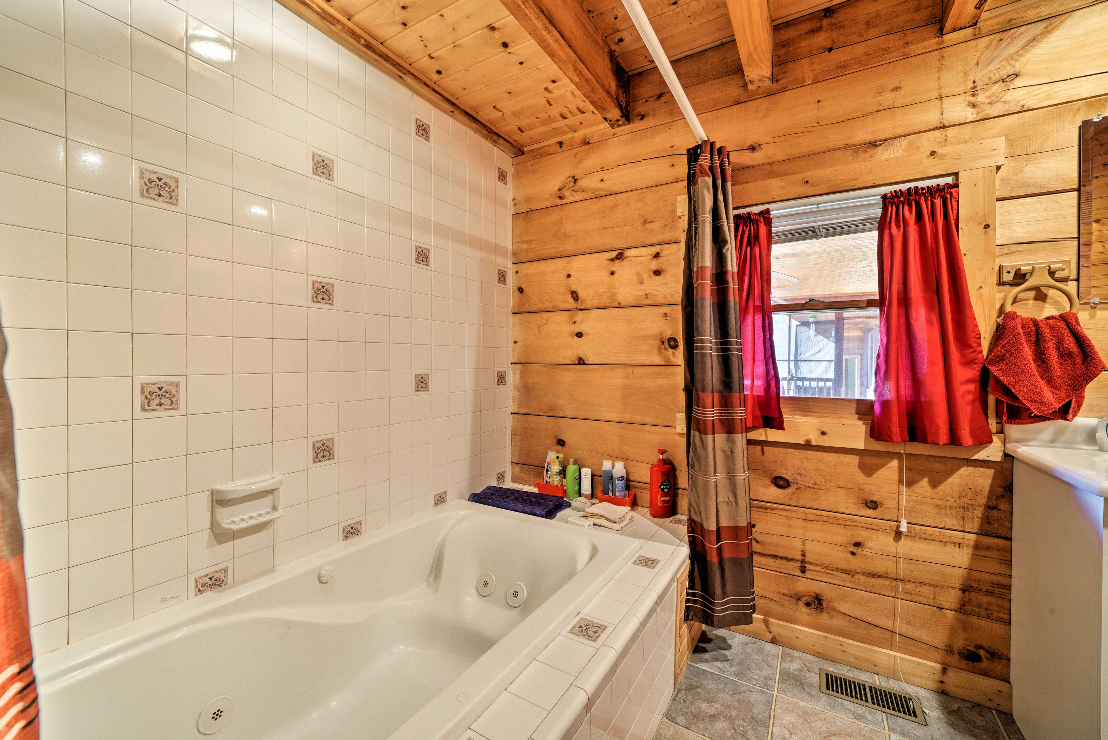 Soak in the jetted tub or turn up the heat and take a steamy shower.