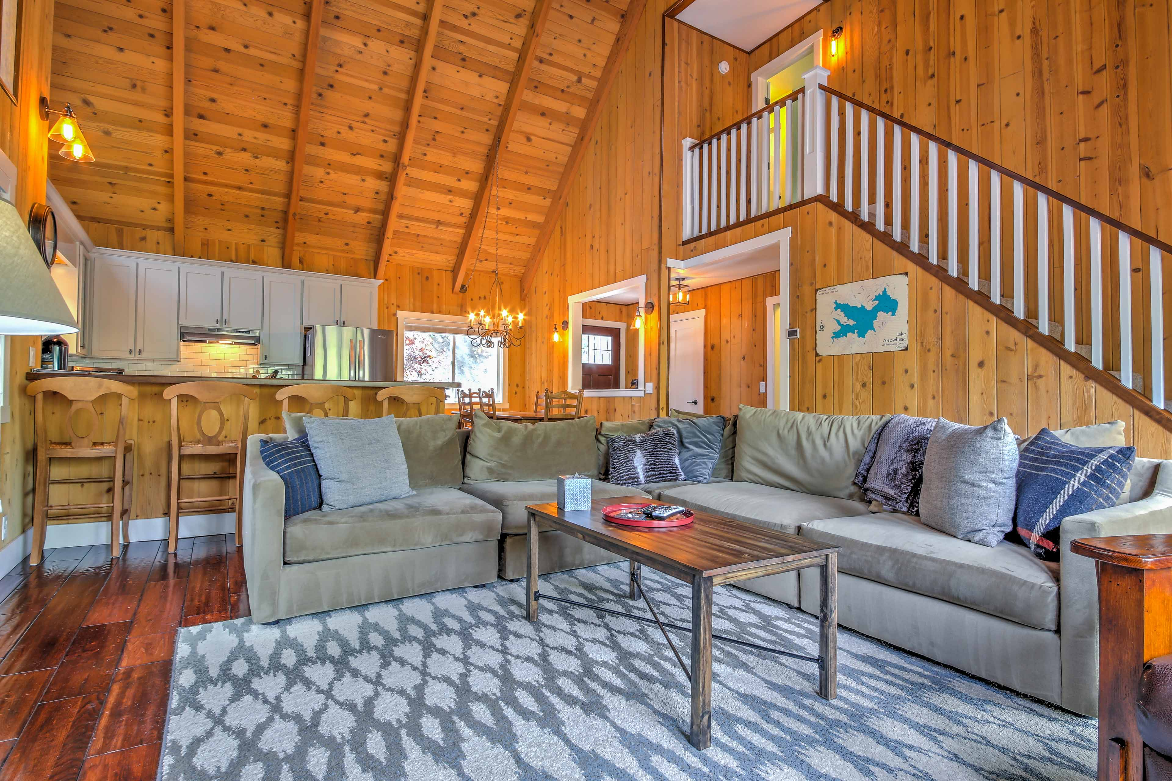This spacious living room has plenty of room for your travel companions.