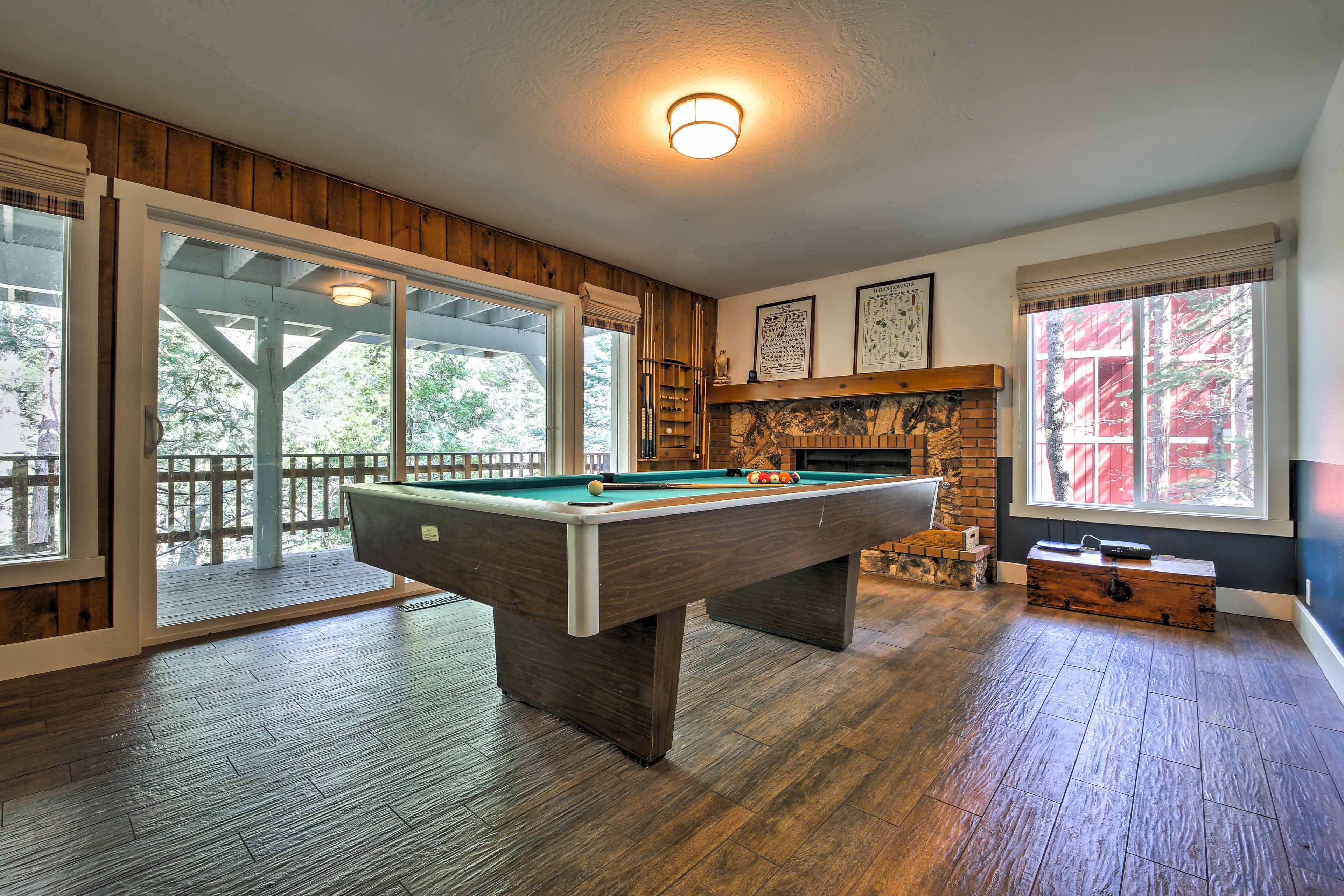 Play a game of pool in the game room.