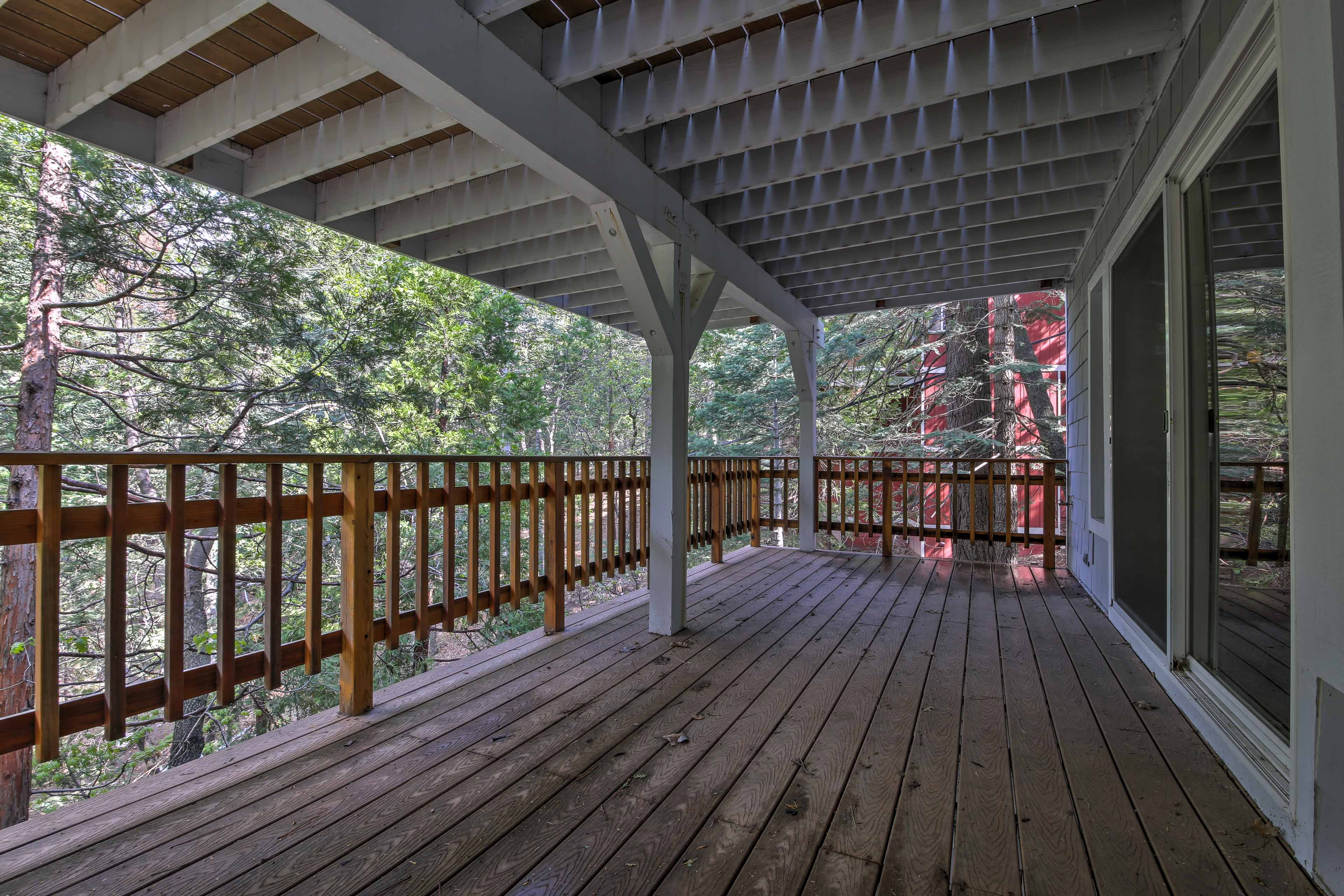 The lower-level deck is perfect for coffee or cocktails.