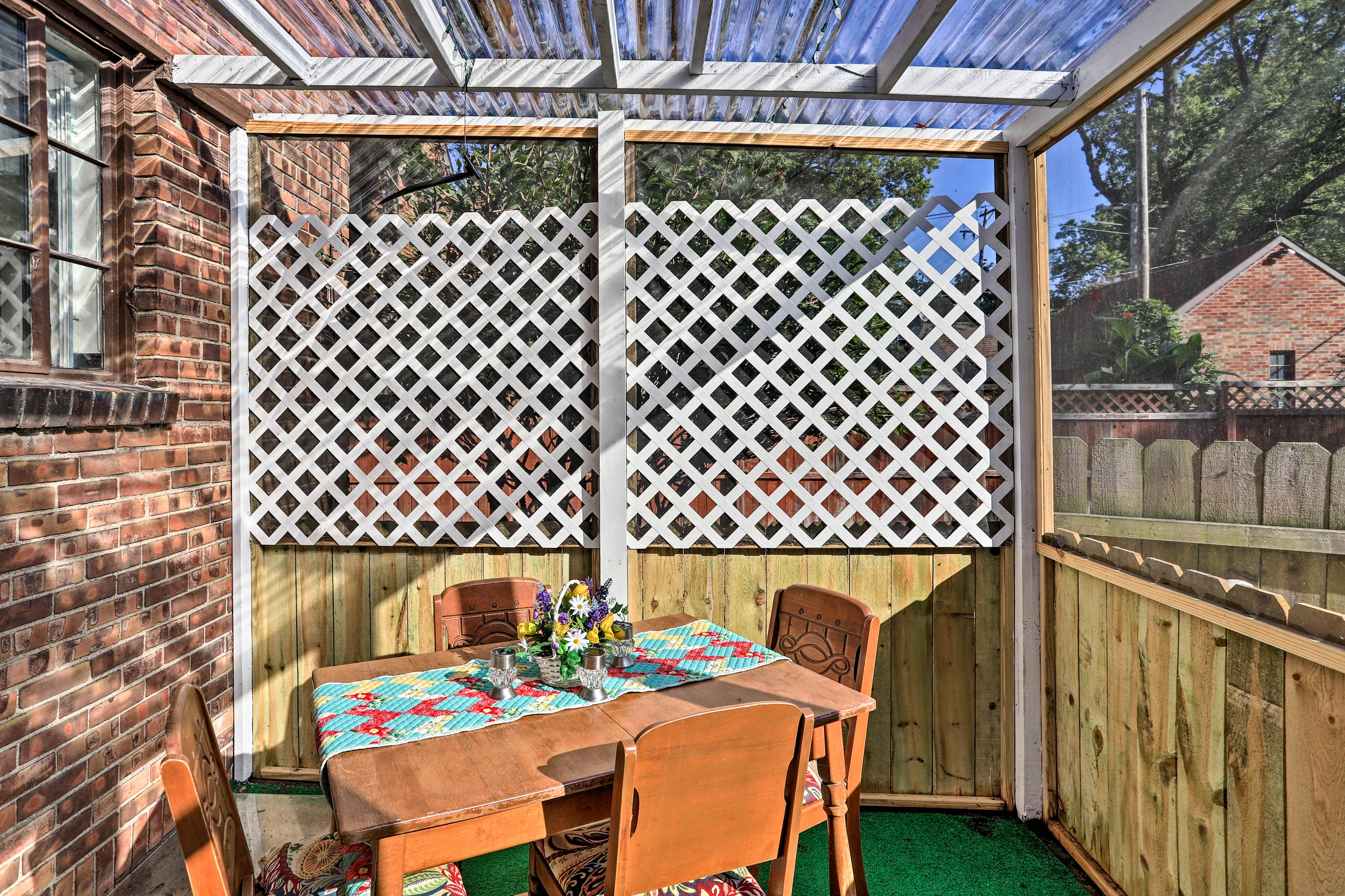 The sunroom is a perfect spot to host a homemade meal.