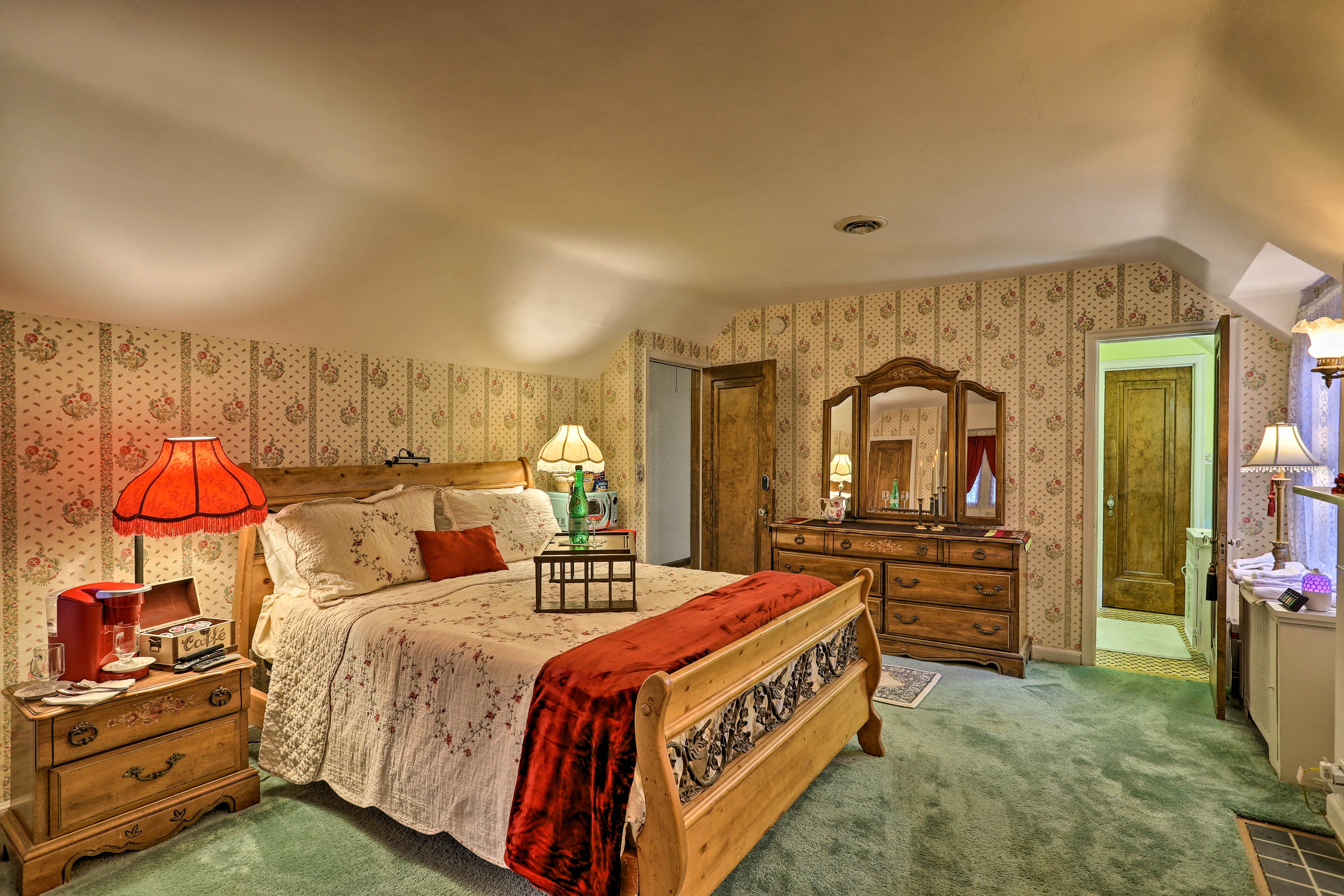 The master suite is fully stocked with luxury amenities.