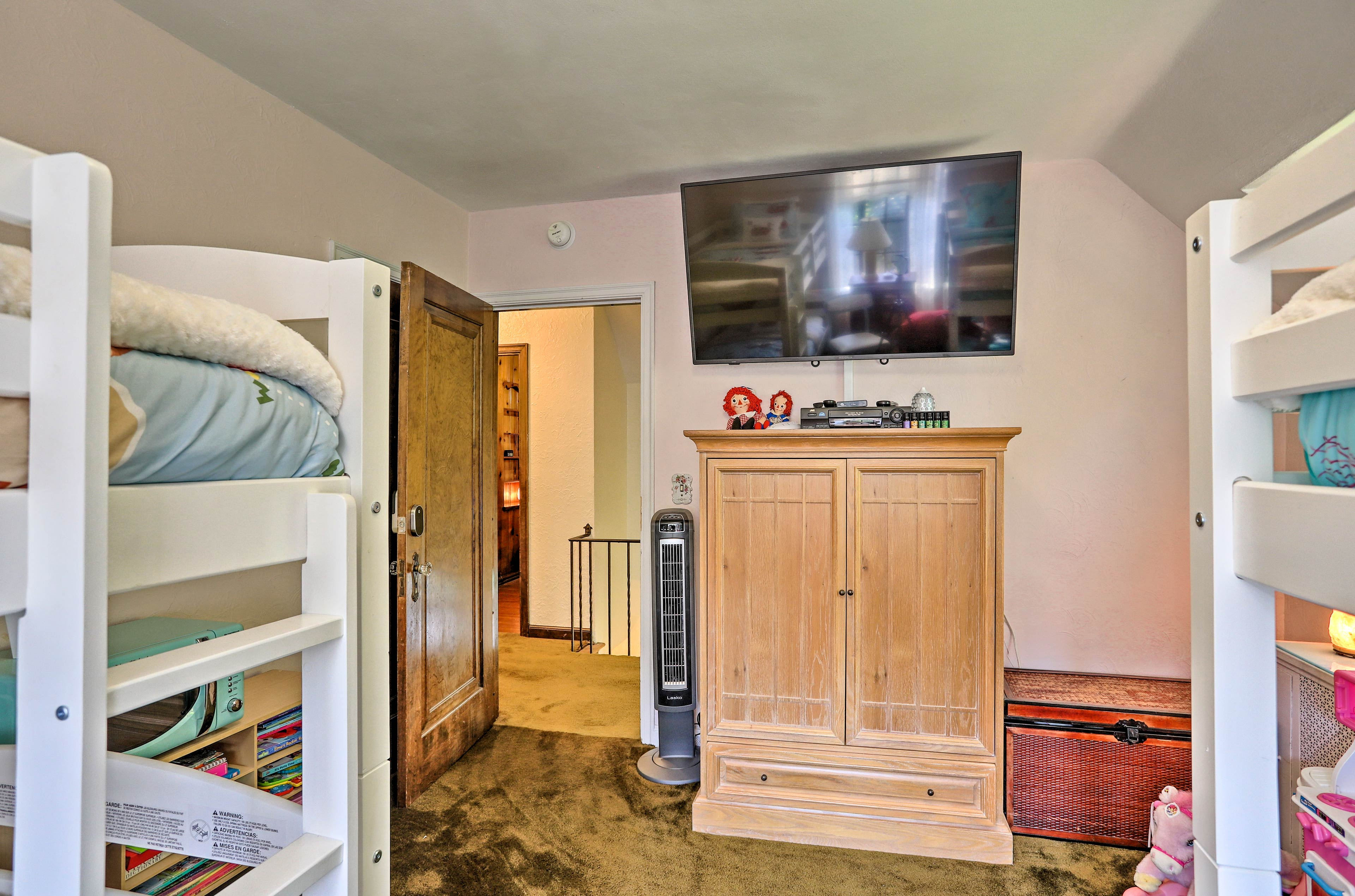Your children can watch TV from their twin bunk beds!