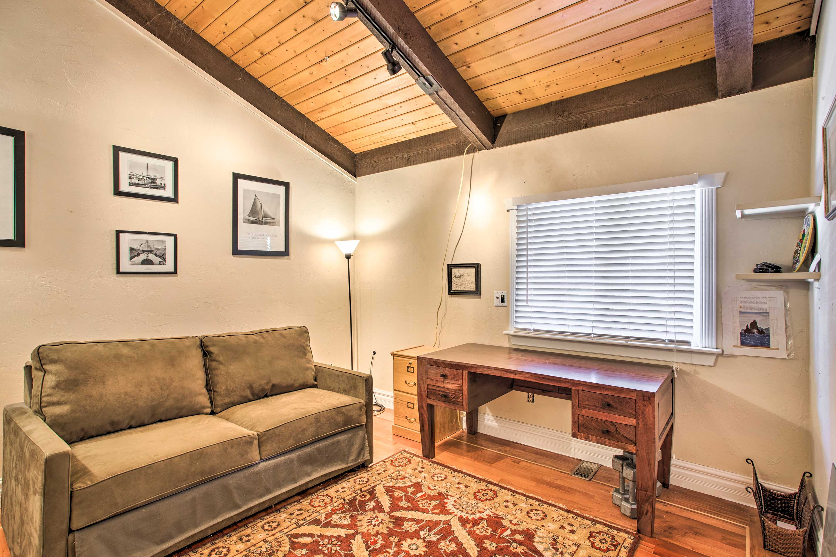 The second bedroom offers a sleeper sofa, accommodating up to 2 guests.