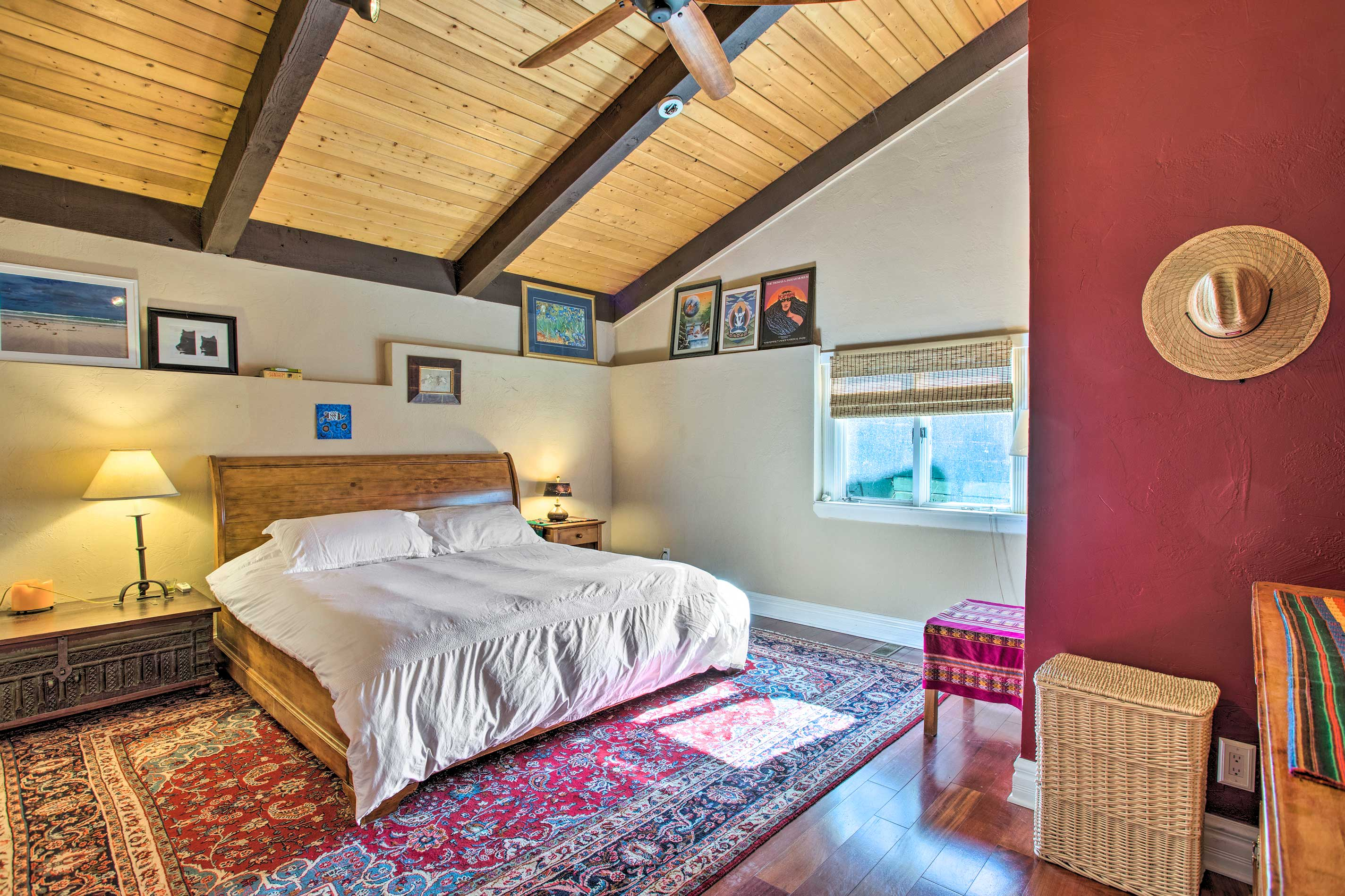 Claim this California king bed as your own.