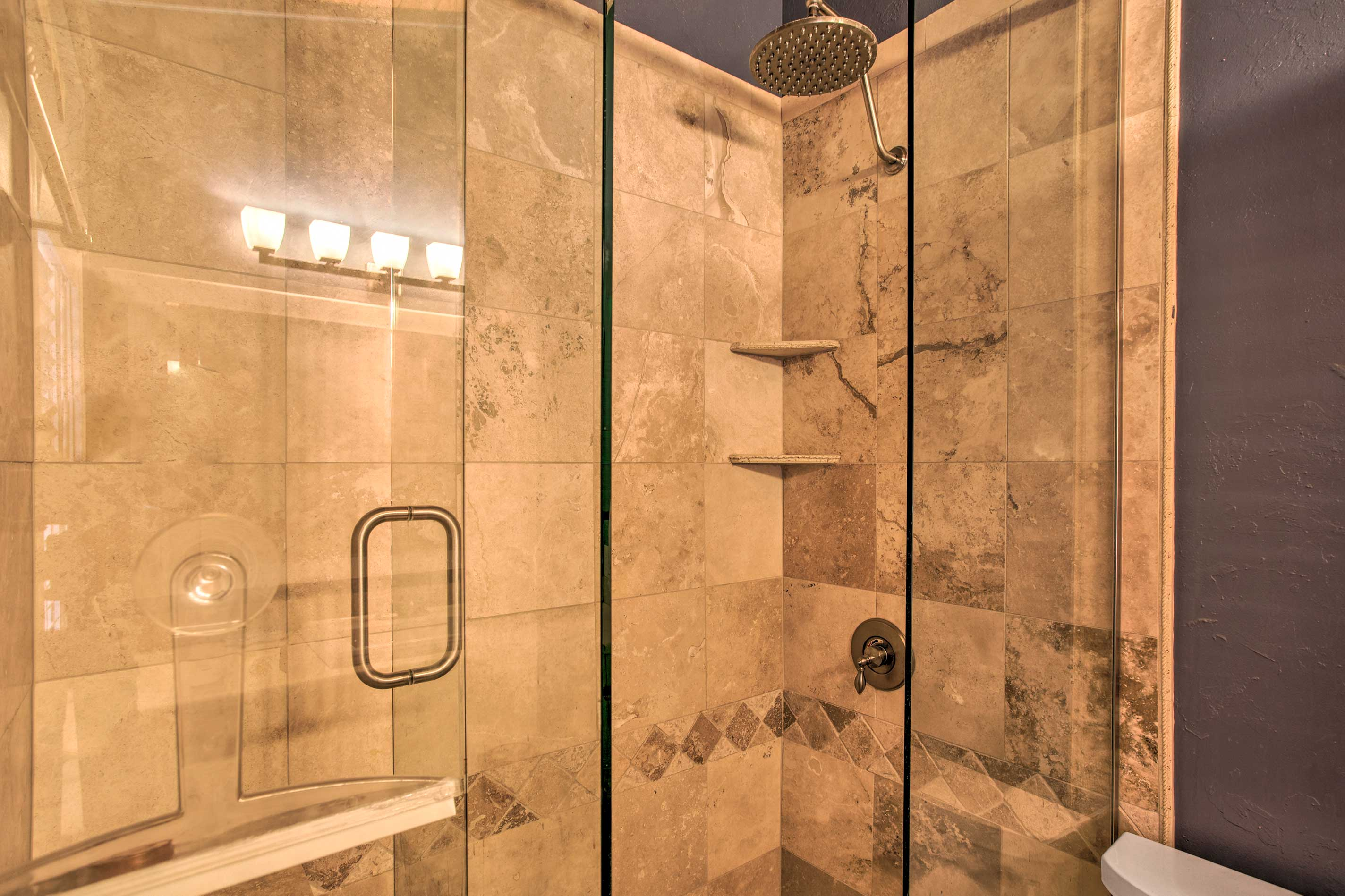 Rinse off in the walk-in shower before bed.
